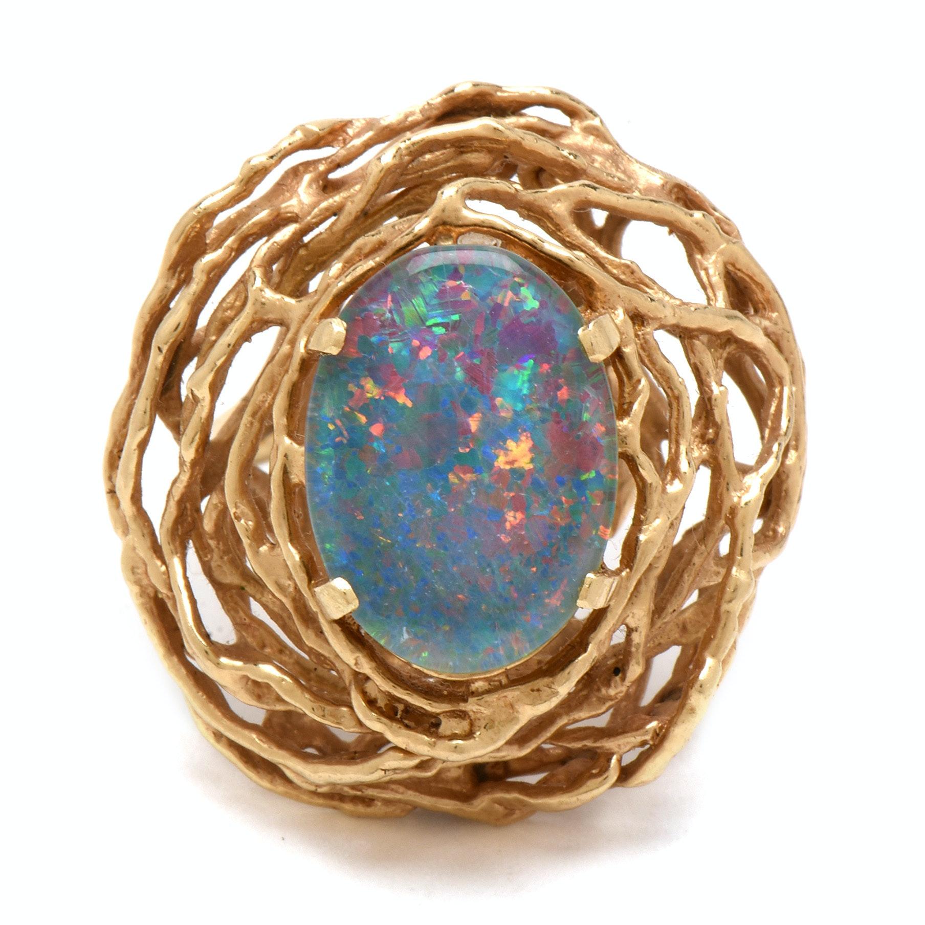 14K Yellow Gold Opal Doublet Bird Nest Motif Cocktail Ring