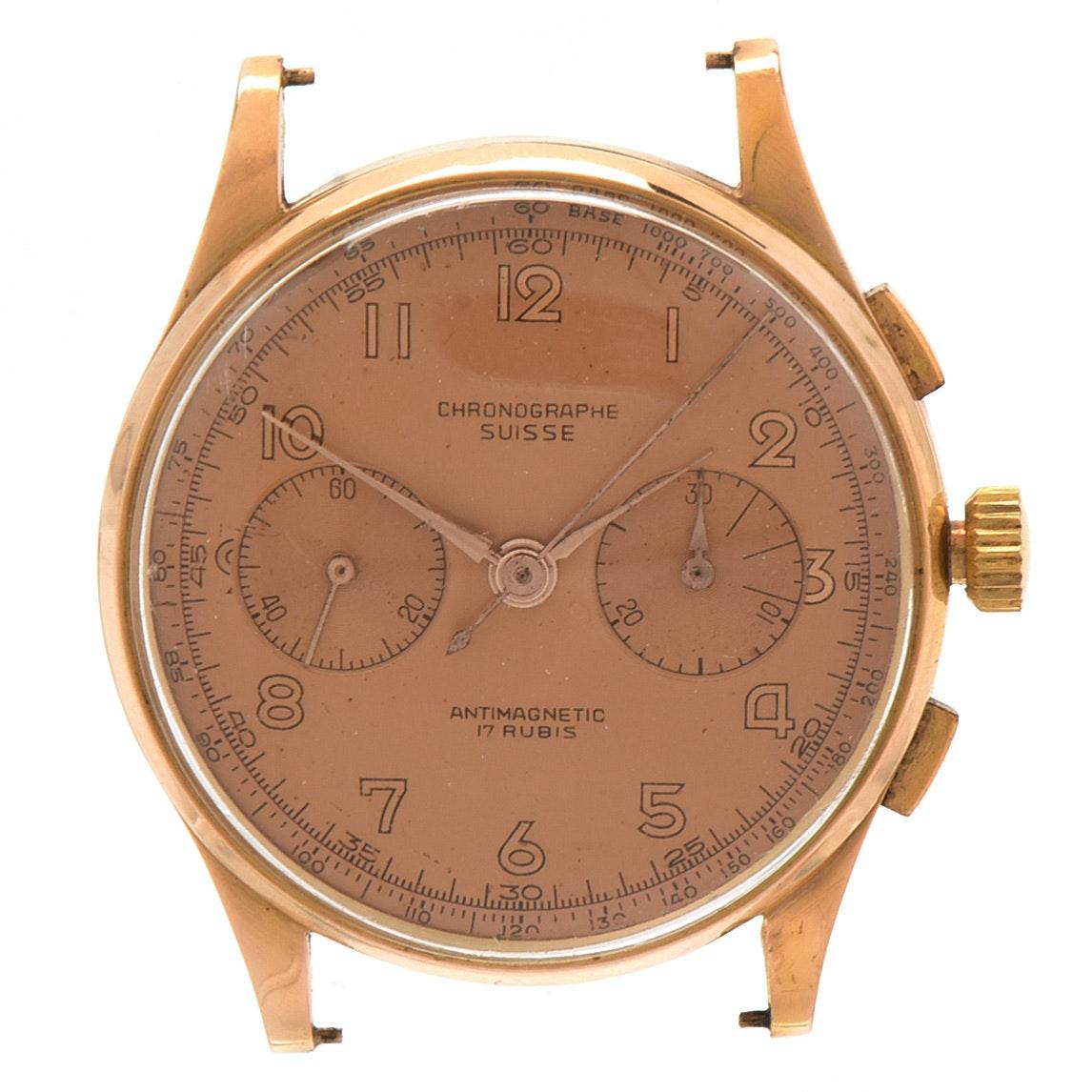14K Rose Gold Swiss Made Chronograph Watch