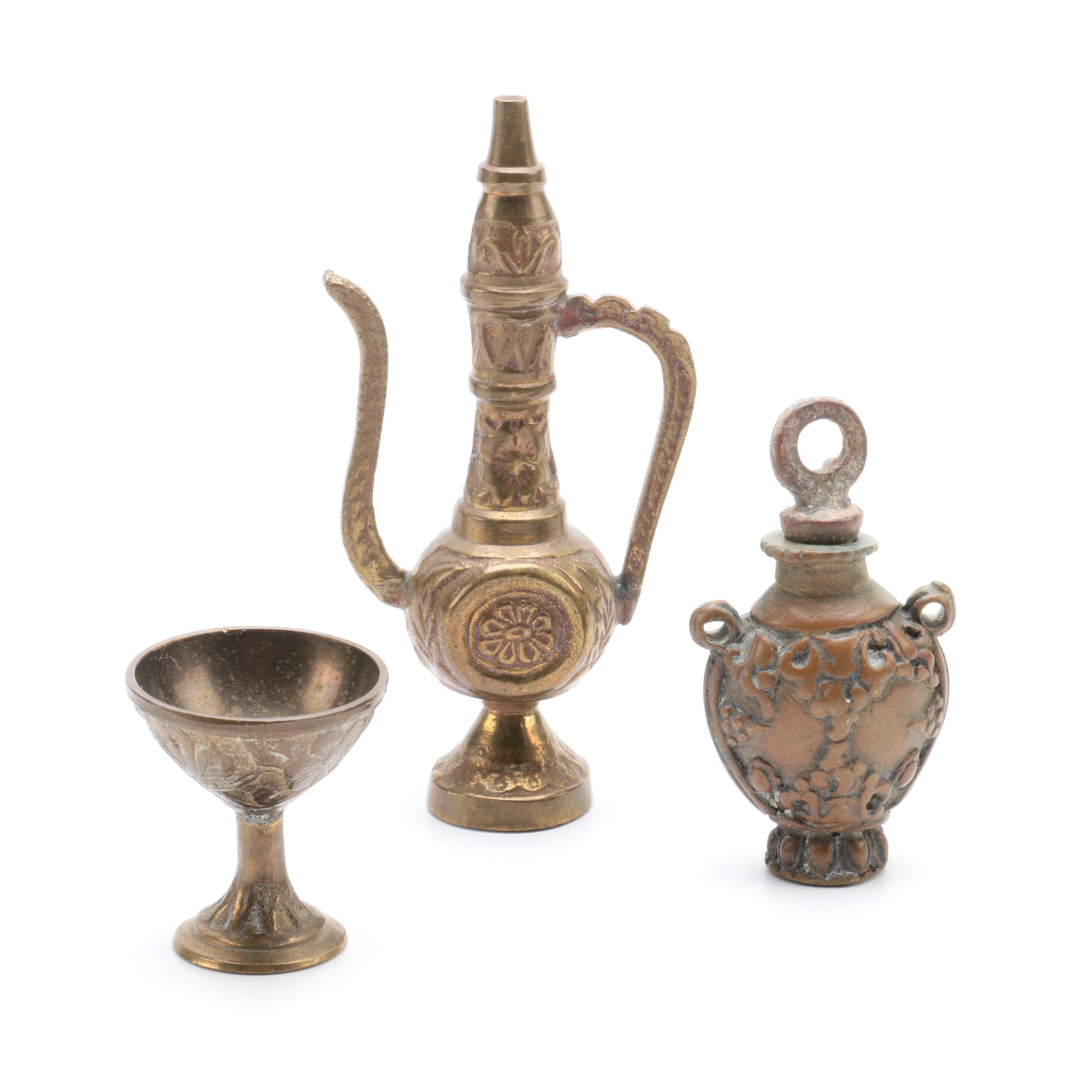 Metal Teapot Figurine, Goblet, and Bottle