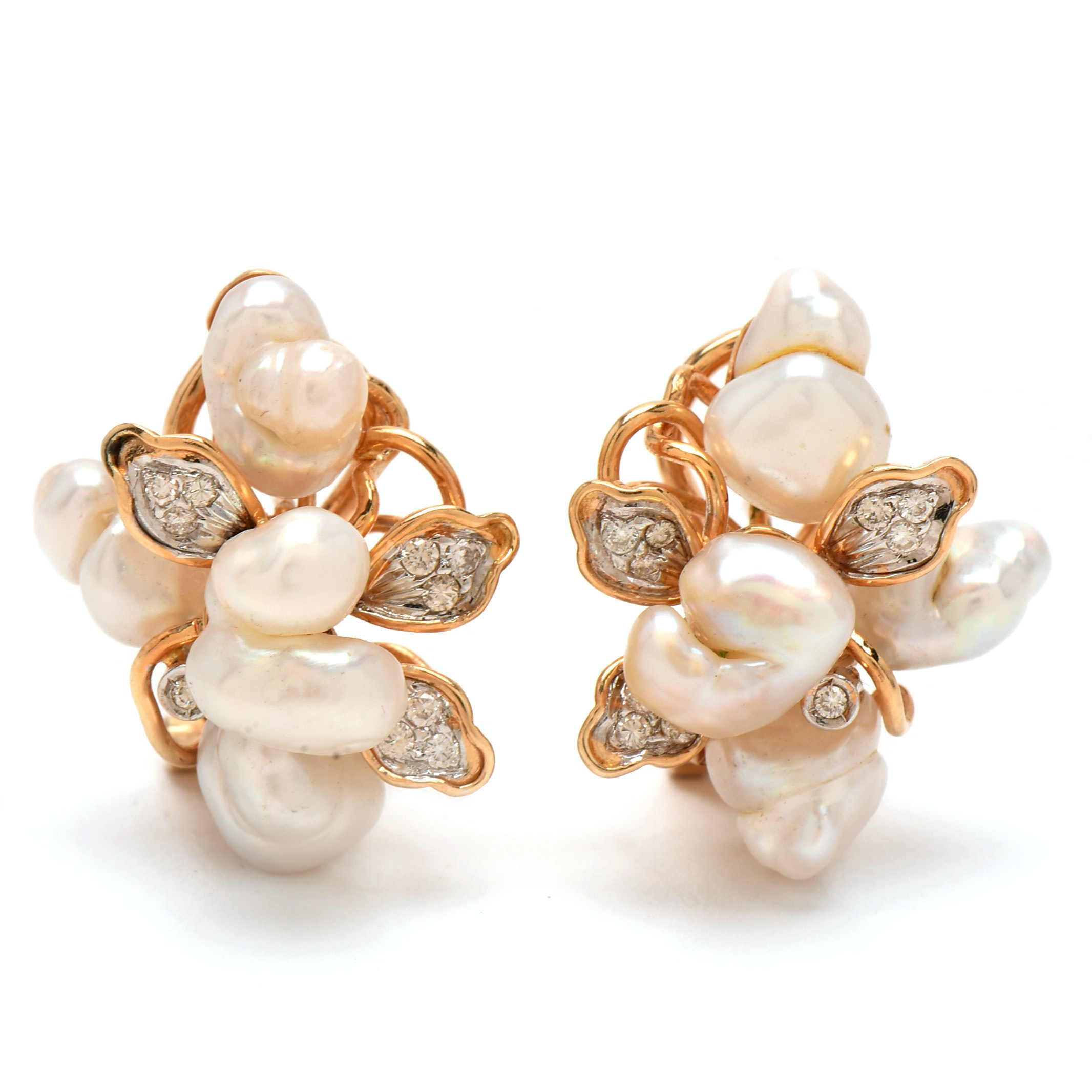 14K Yellow Gold Freeform Cultured Pearl and Diamond Floral Earrings