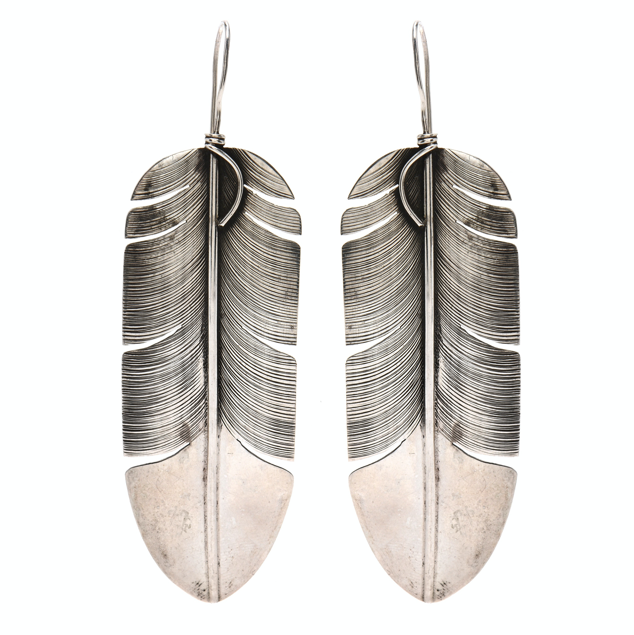 Native American Navajo Lena Platero Sterling Silver Feather Statement Earrings