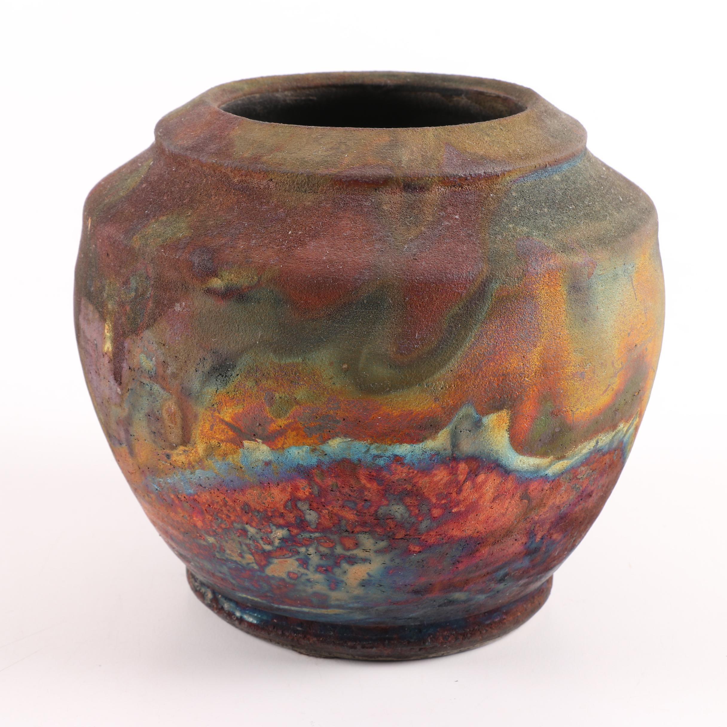 Signed Wheel Thrown Stoneware Raku Fired Vase