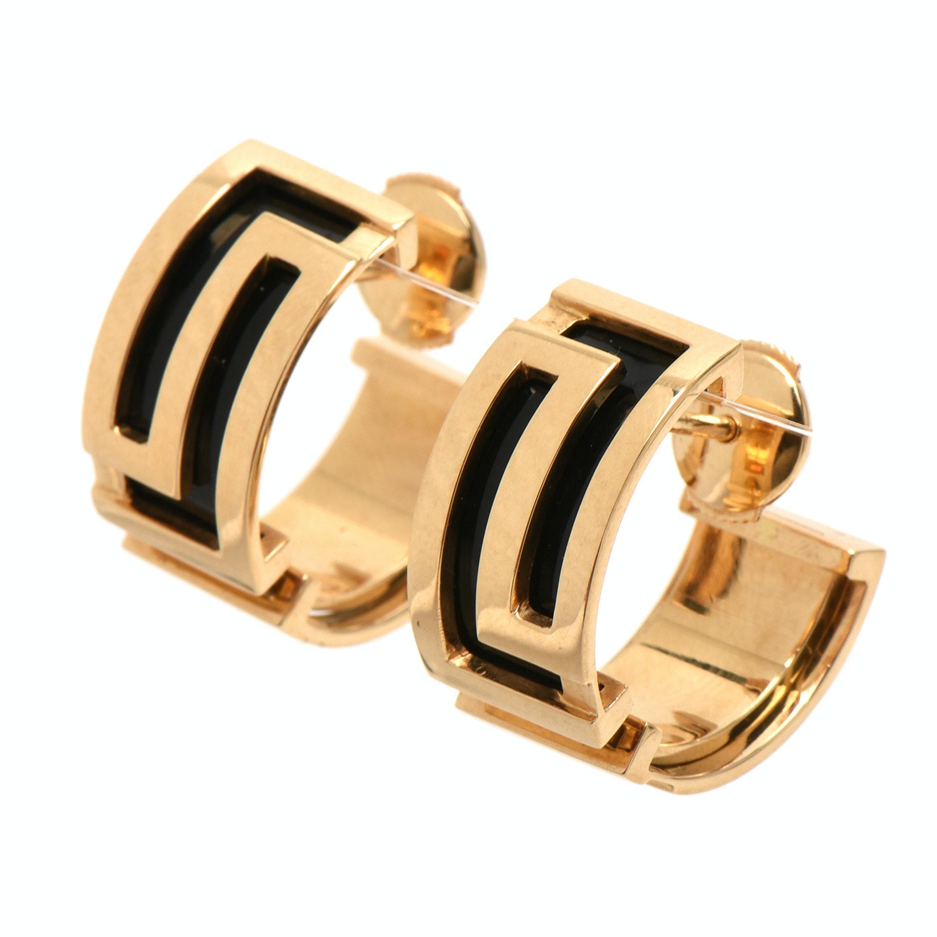 Versace 18K Yellow Gold Black Enamel Greek Key Half-Hoop Earrings