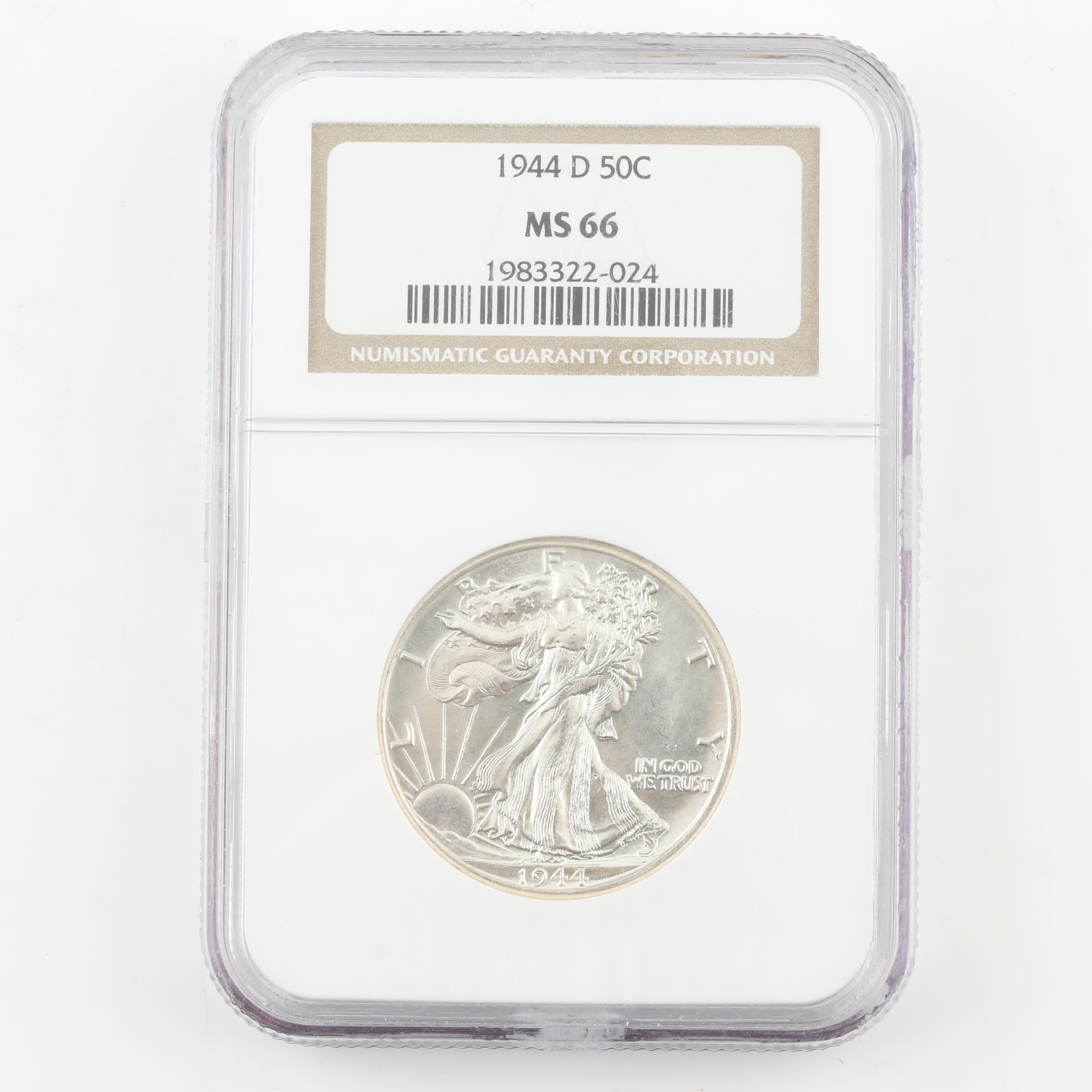 NGC Graded MS66 1944-D Walking Liberty Silver Half Dollar
