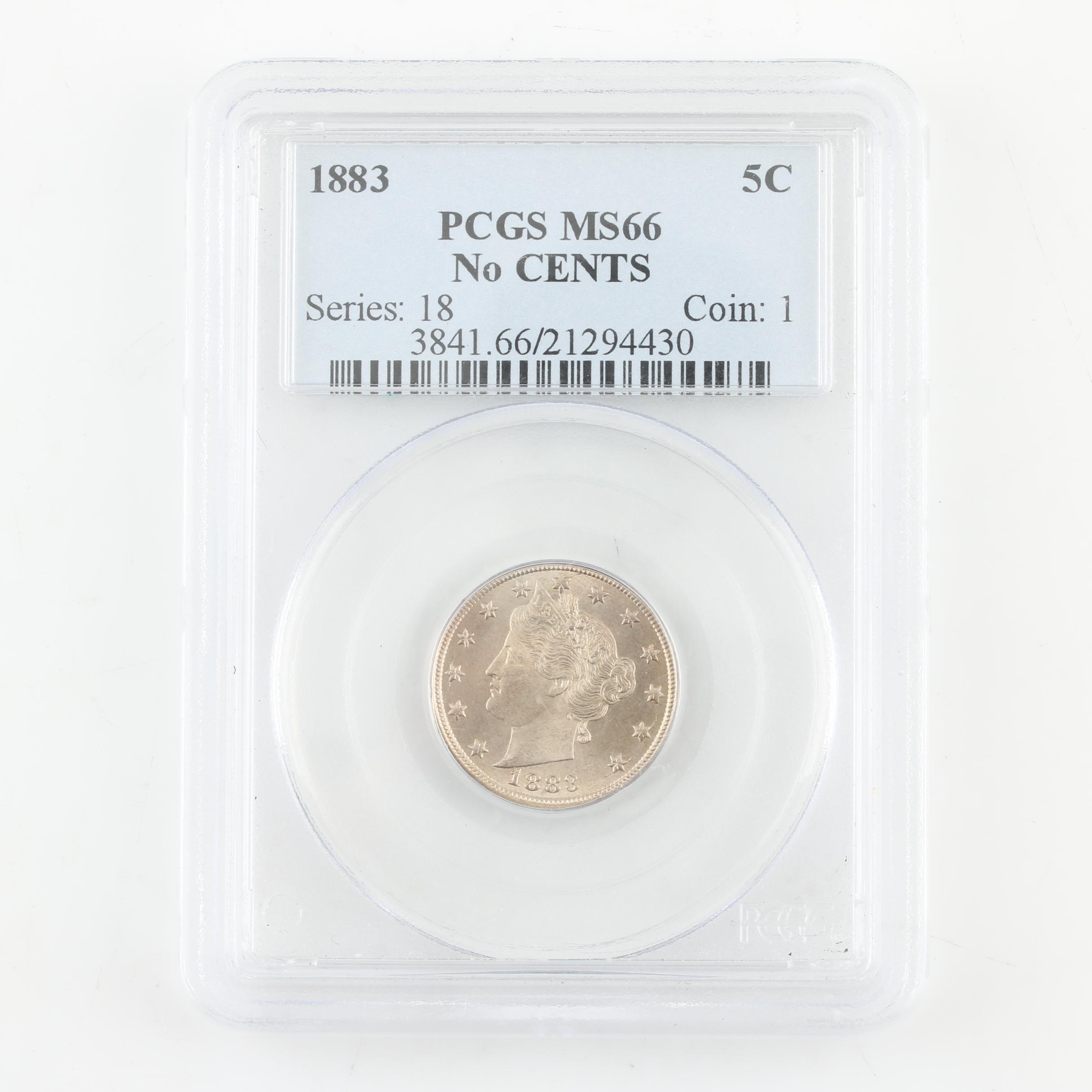 """PCGS Graded MS66 1883 Liberty Head """"V"""" Nickel, no """"CENTS"""" Variety"""