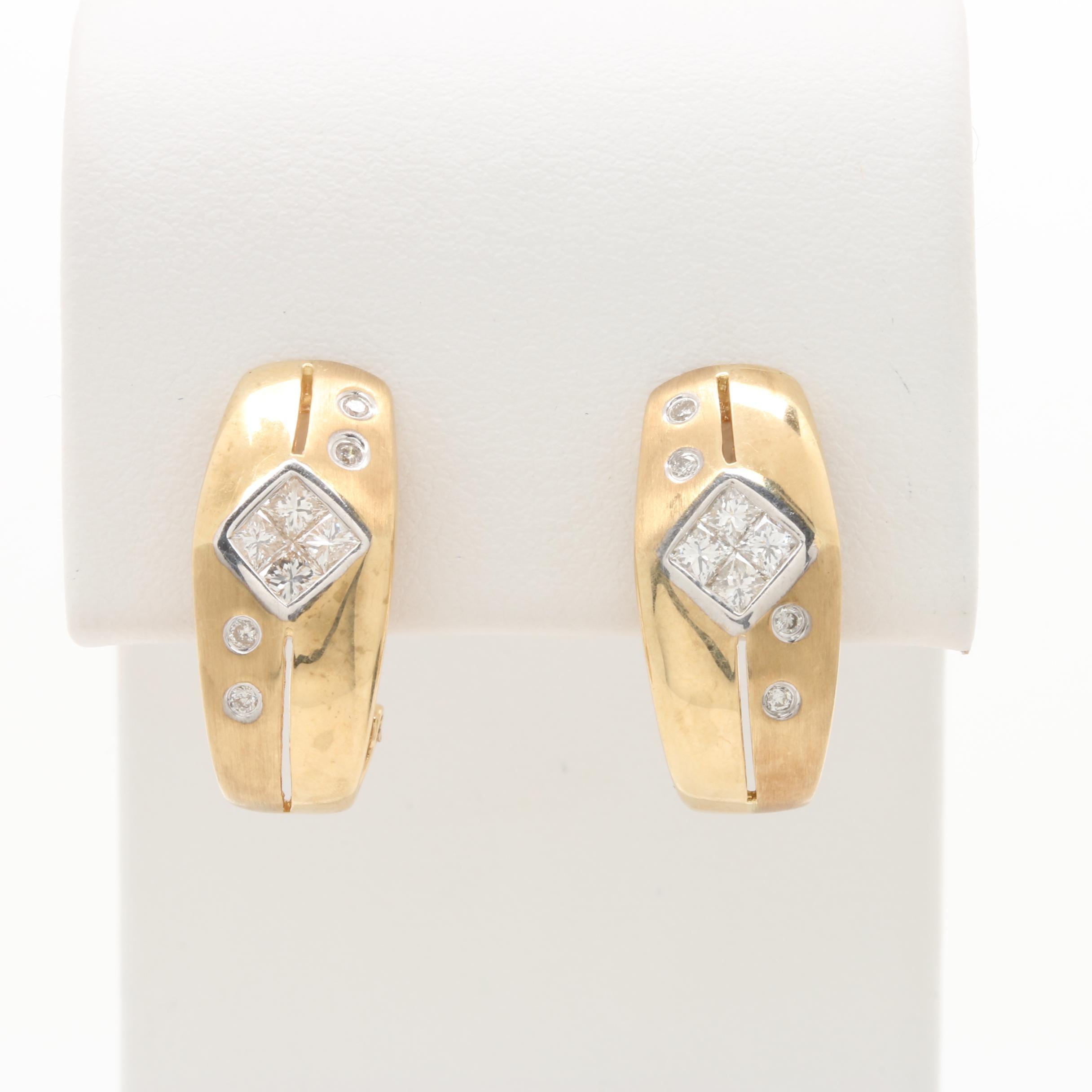 14K Yellow Gold Diamond Half Hoop Earrings