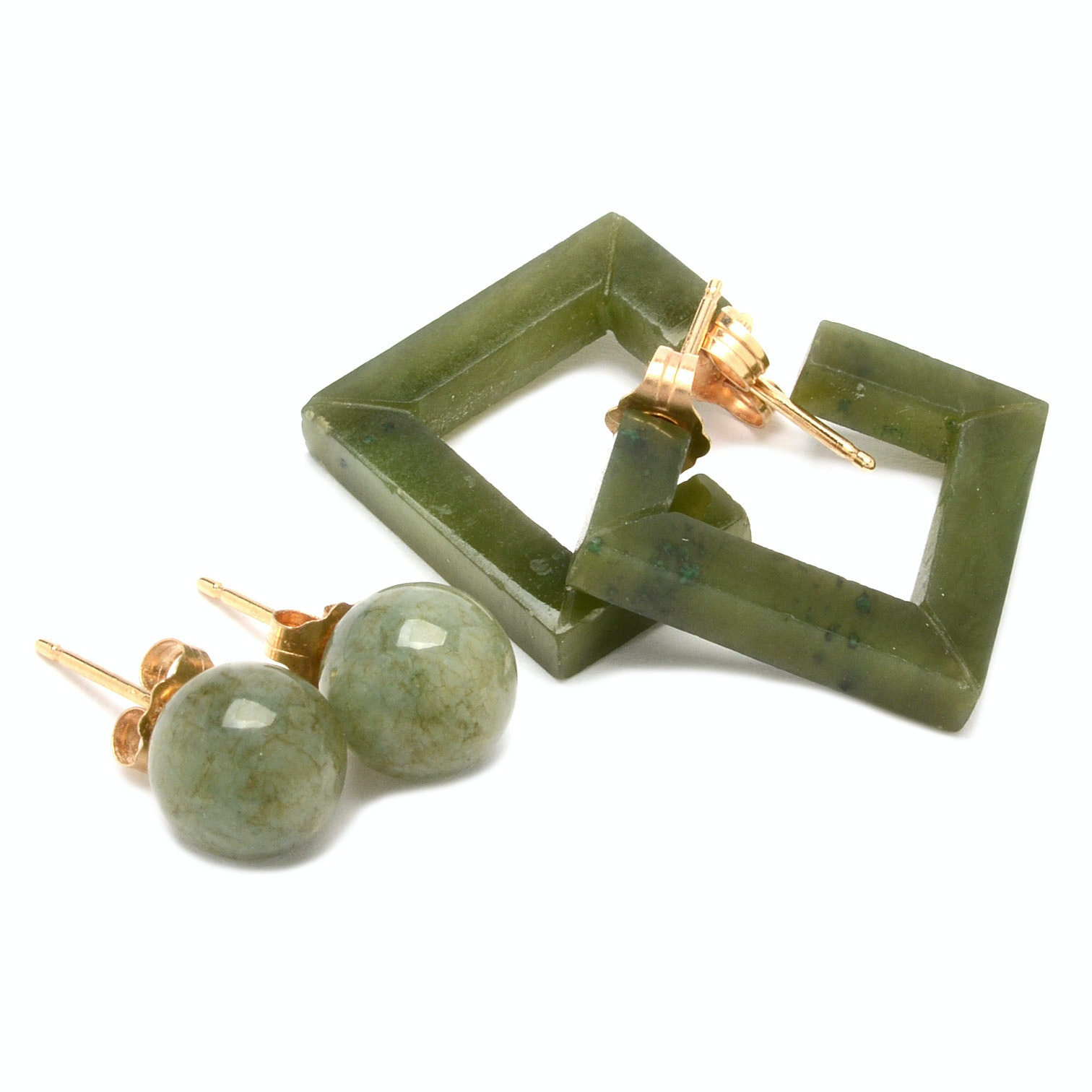 14K Yellow Gold Earrings with Serpentine and Dyed Quartz
