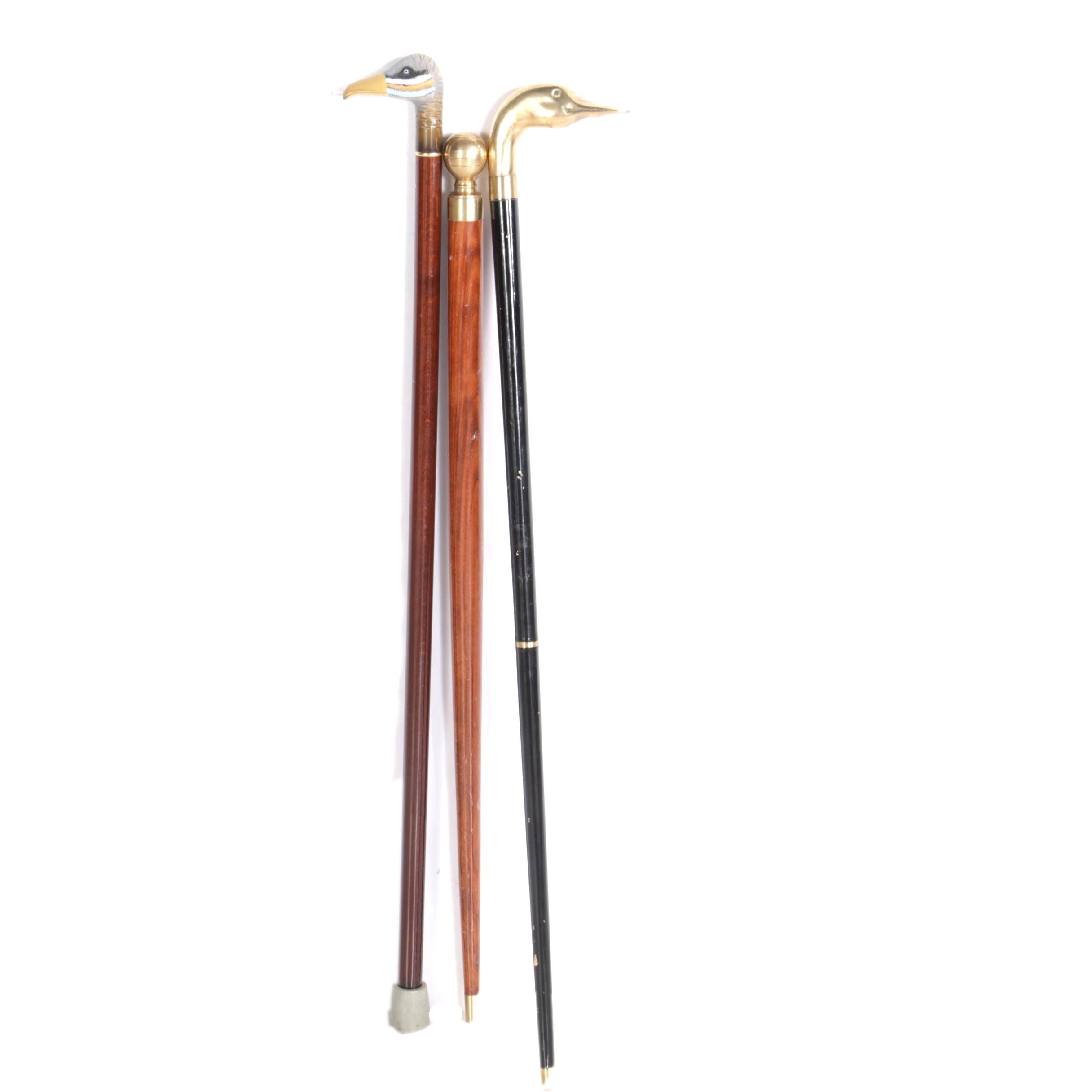 Canes Including Wolf Headed and Bird Head Handles