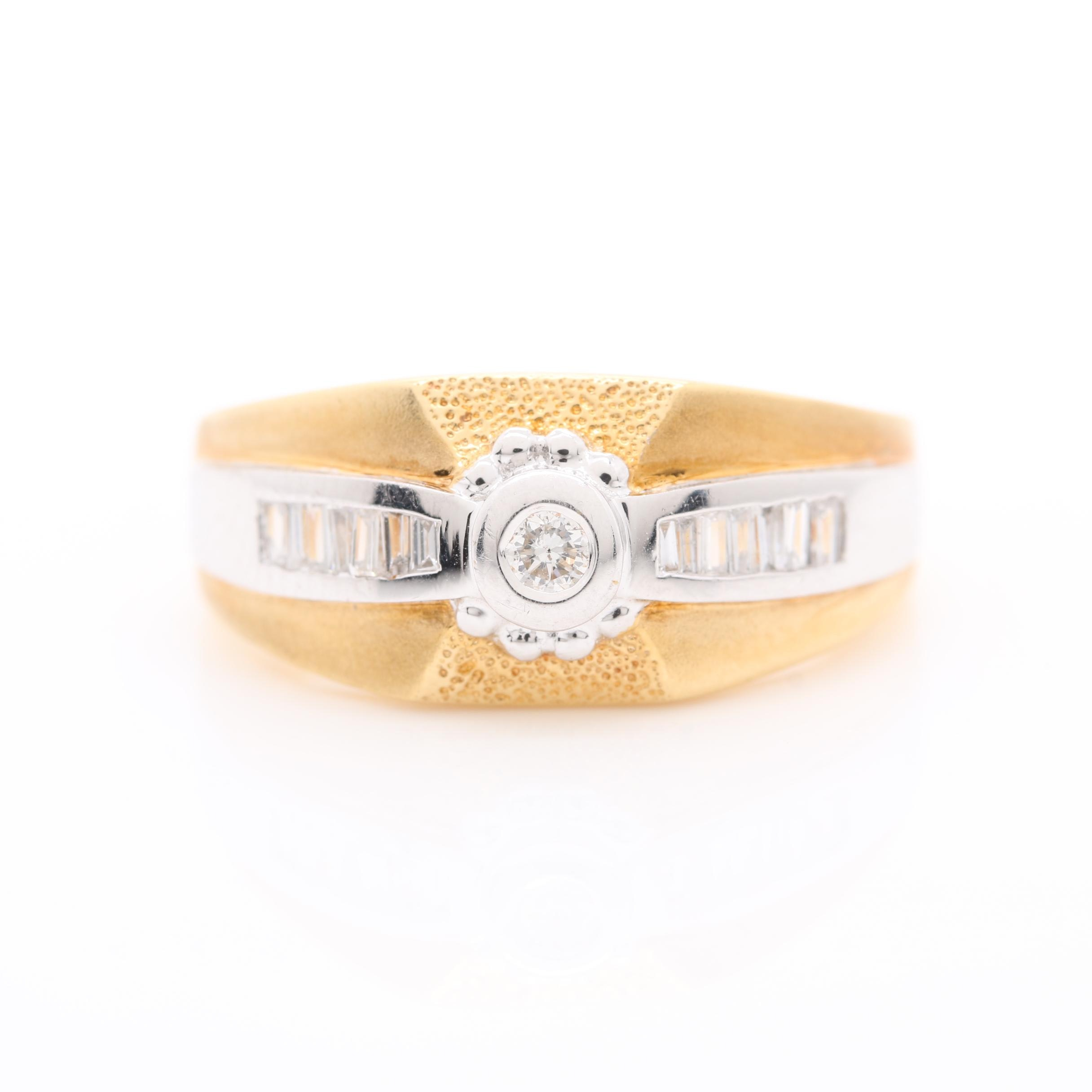 18K Yellow Gold and White Gold Diamond Ring