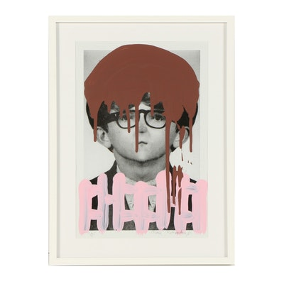 """Mark Mothersbaugh Screenprint """"Self-Portrait with First Pair of Glasses"""""""