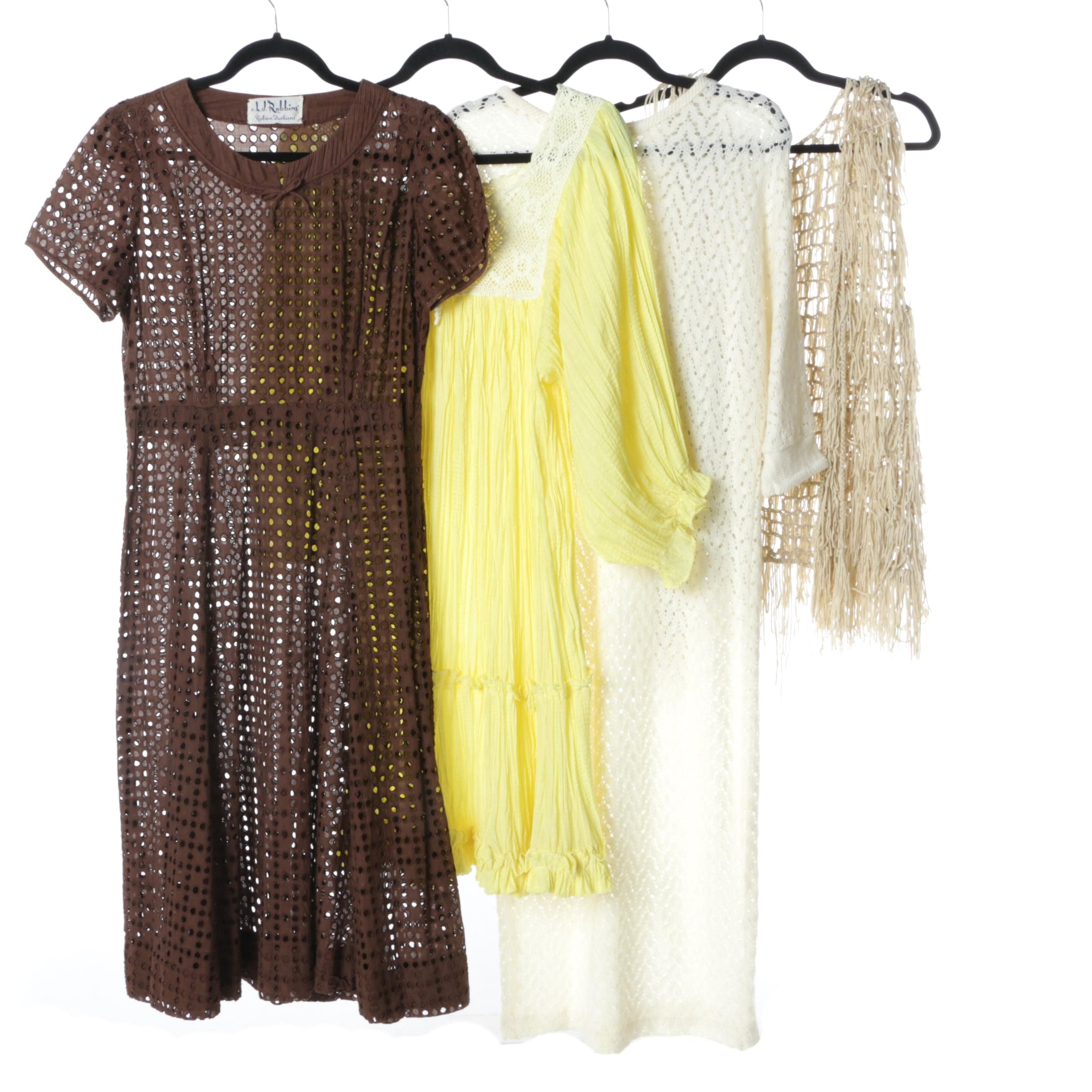 Collection of Vintage Lace, Crochet Dresses and Shawls Including Neiman Marcus