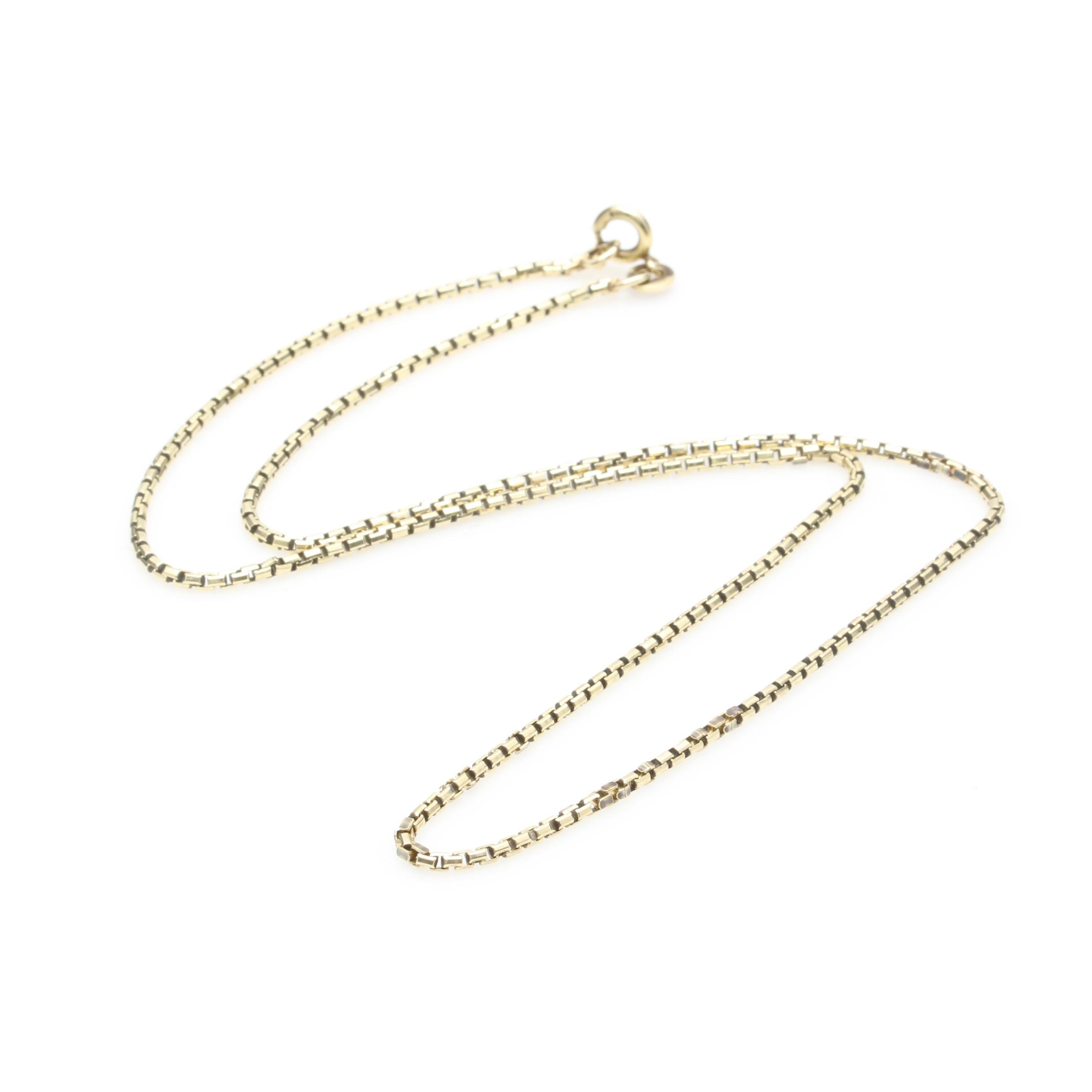 14K Yellow Gold Rounded Box Chain Necklace
