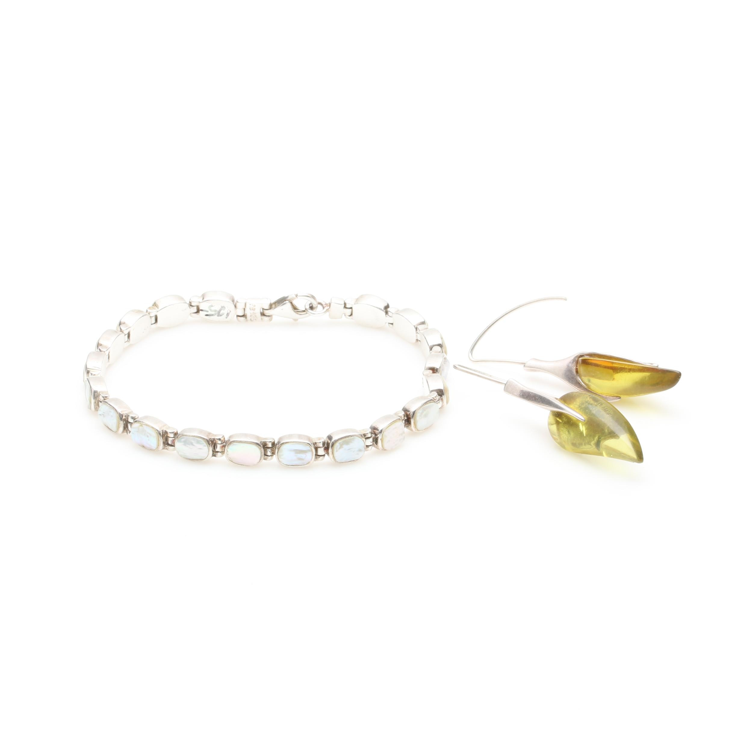 Sterling Silver Mother of Pearl Bracelet and Acrylic Earrings