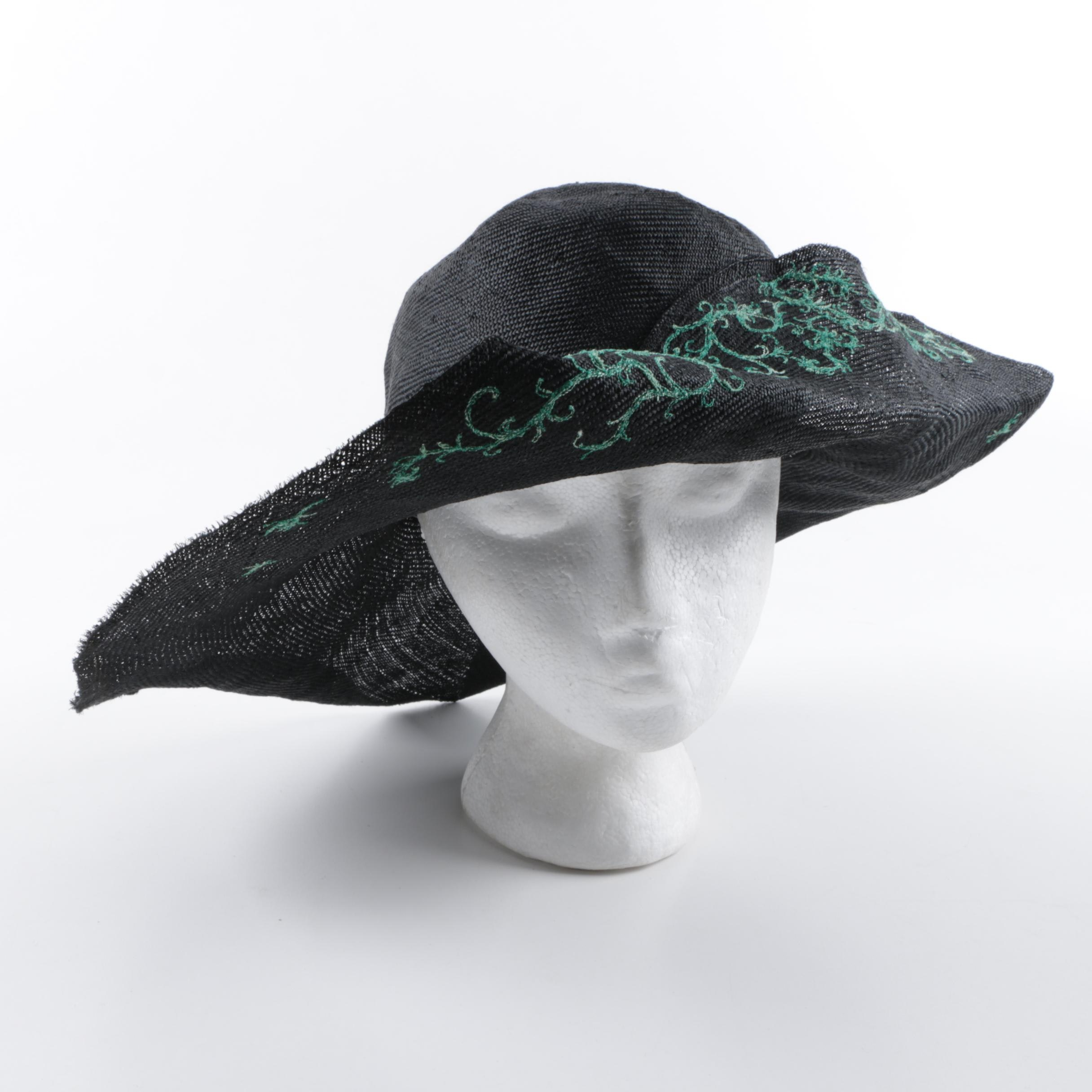 Vintage Fred Bare Black Sunhat with Embroidered Green Vines