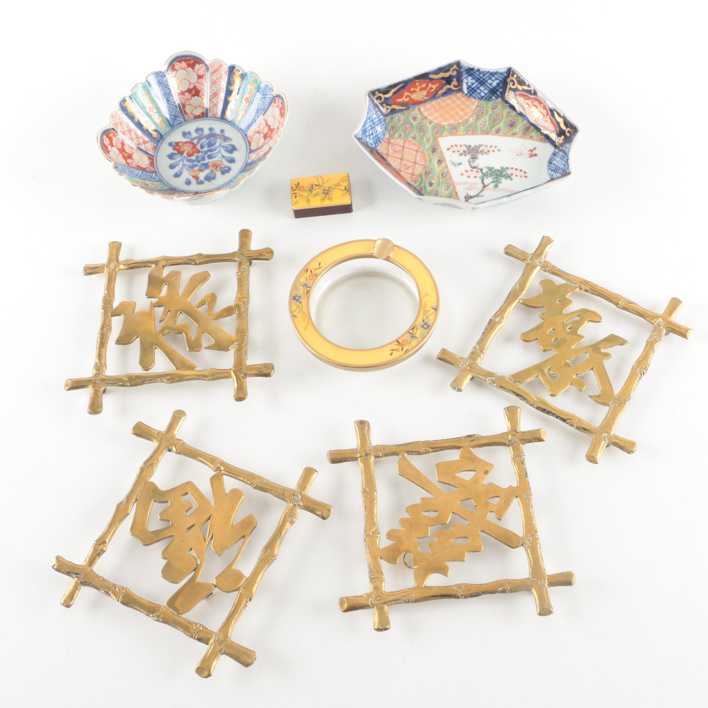 Japanese Imari Dishes and Brass Trivets with Auspicious Characters