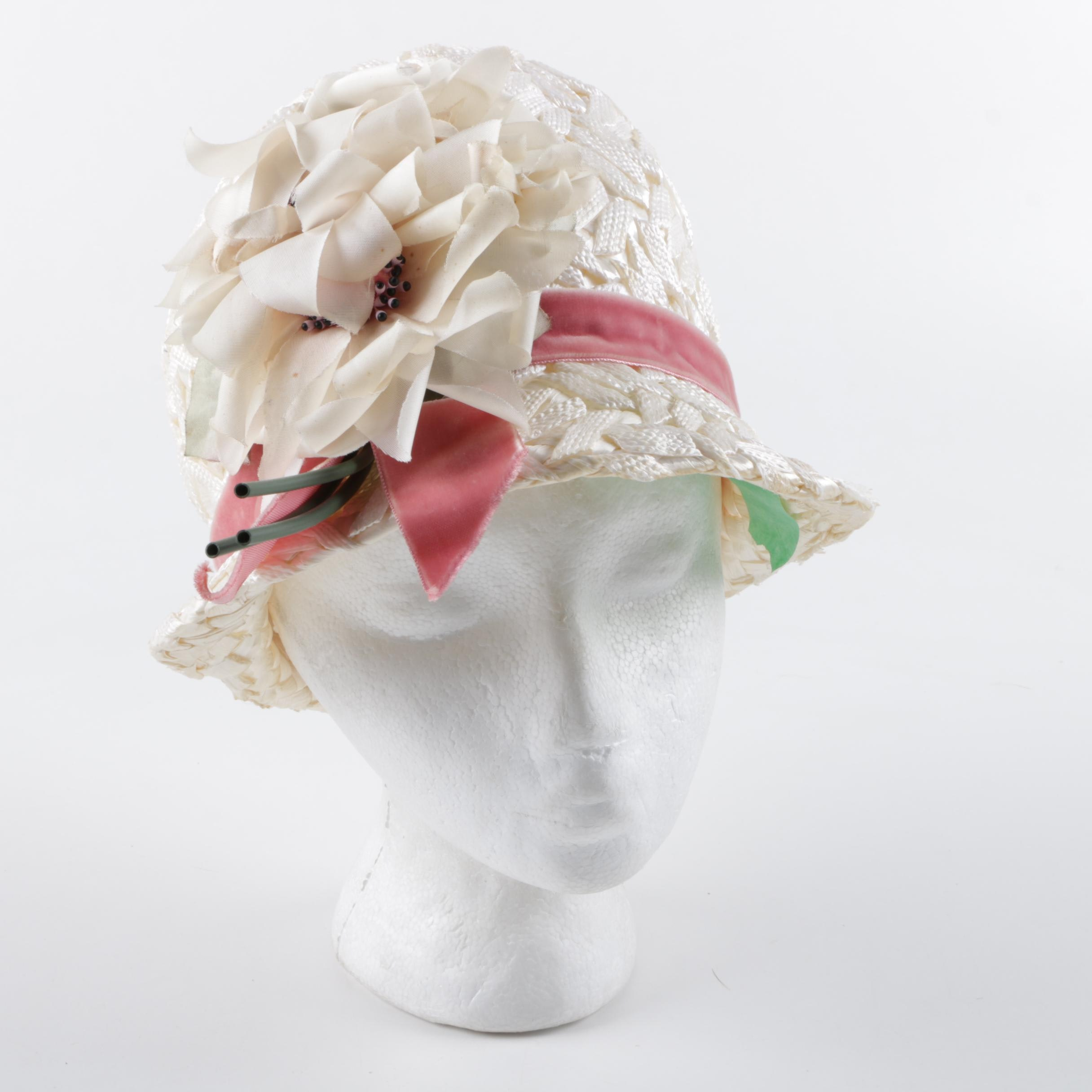 1960s Vintage Frank Olive White and Pink Floral Woven Hat
