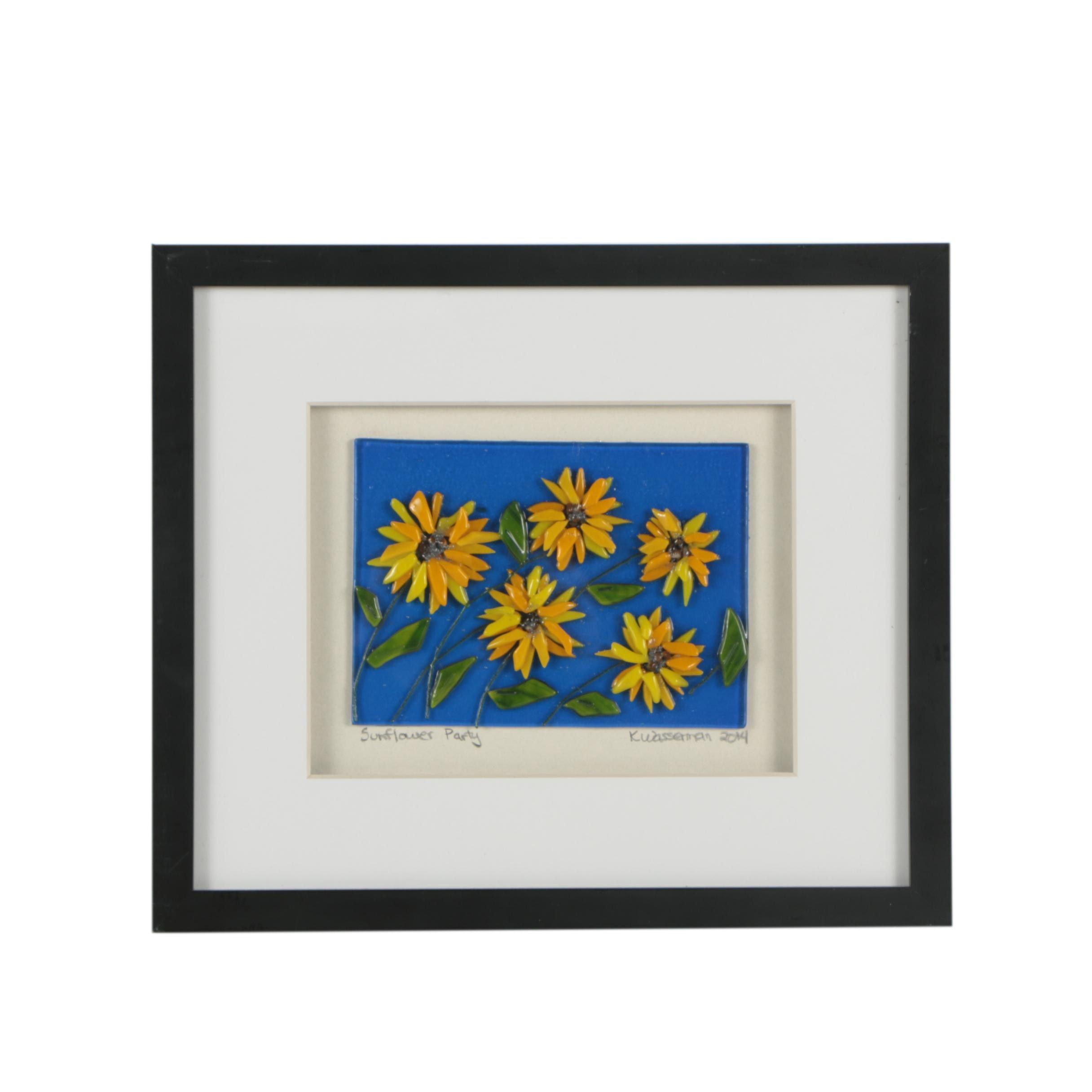 "K. Wasserman Bas Relief ""Sunflower Party"""