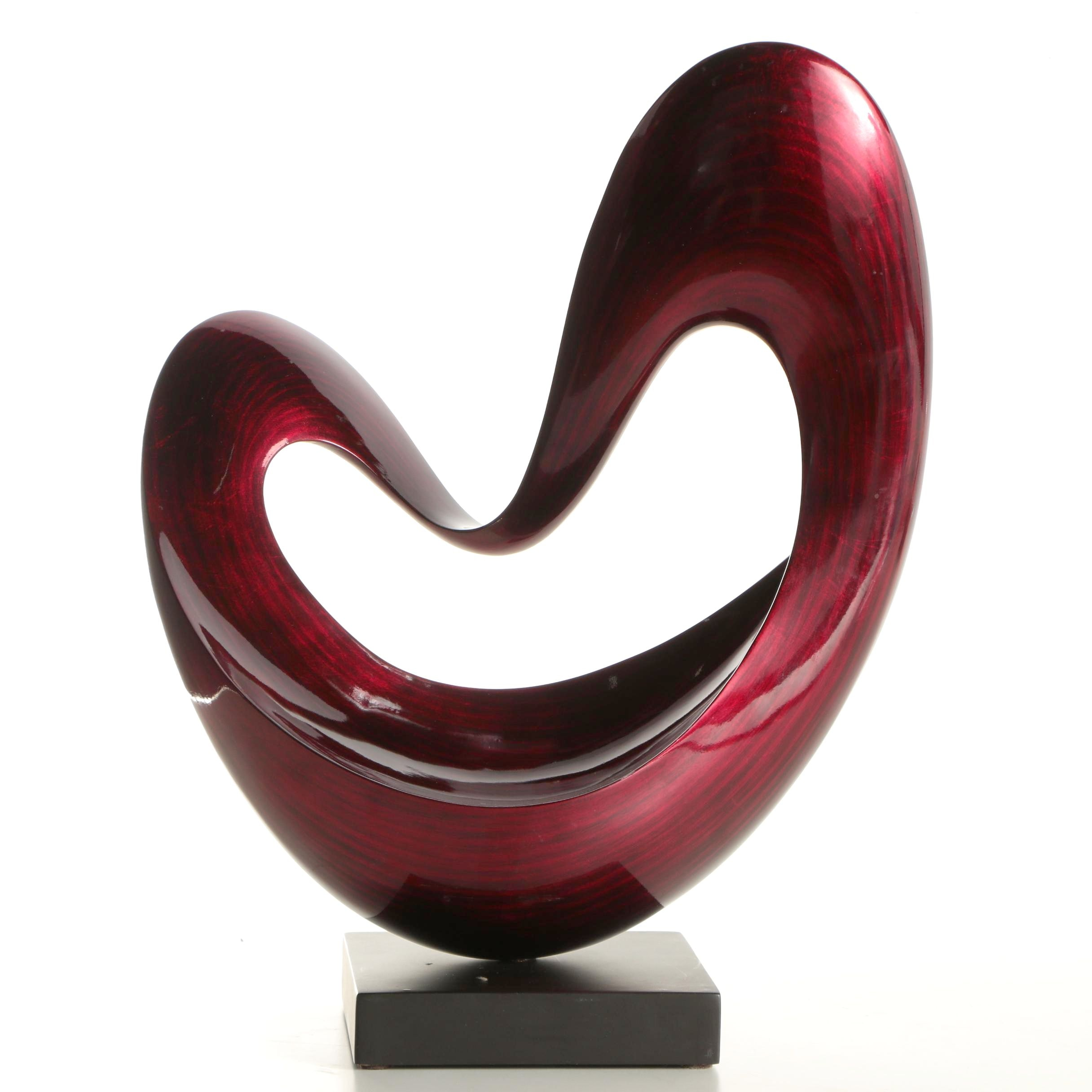 "Hebi Arts Lacquered Wood Sculpture ""Floating Heart"""