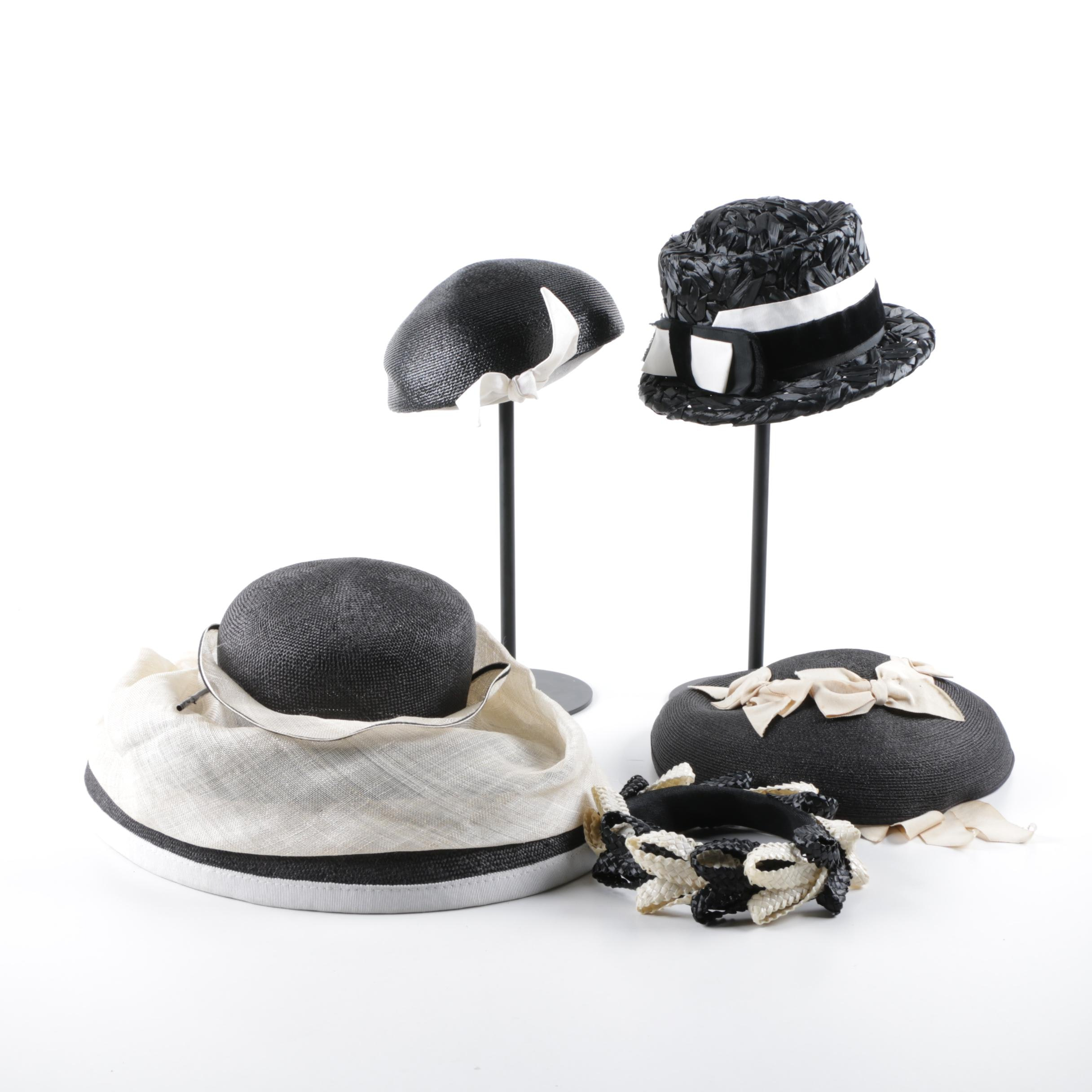 Vintage Black and White Woven Hats Including Frank Olive
