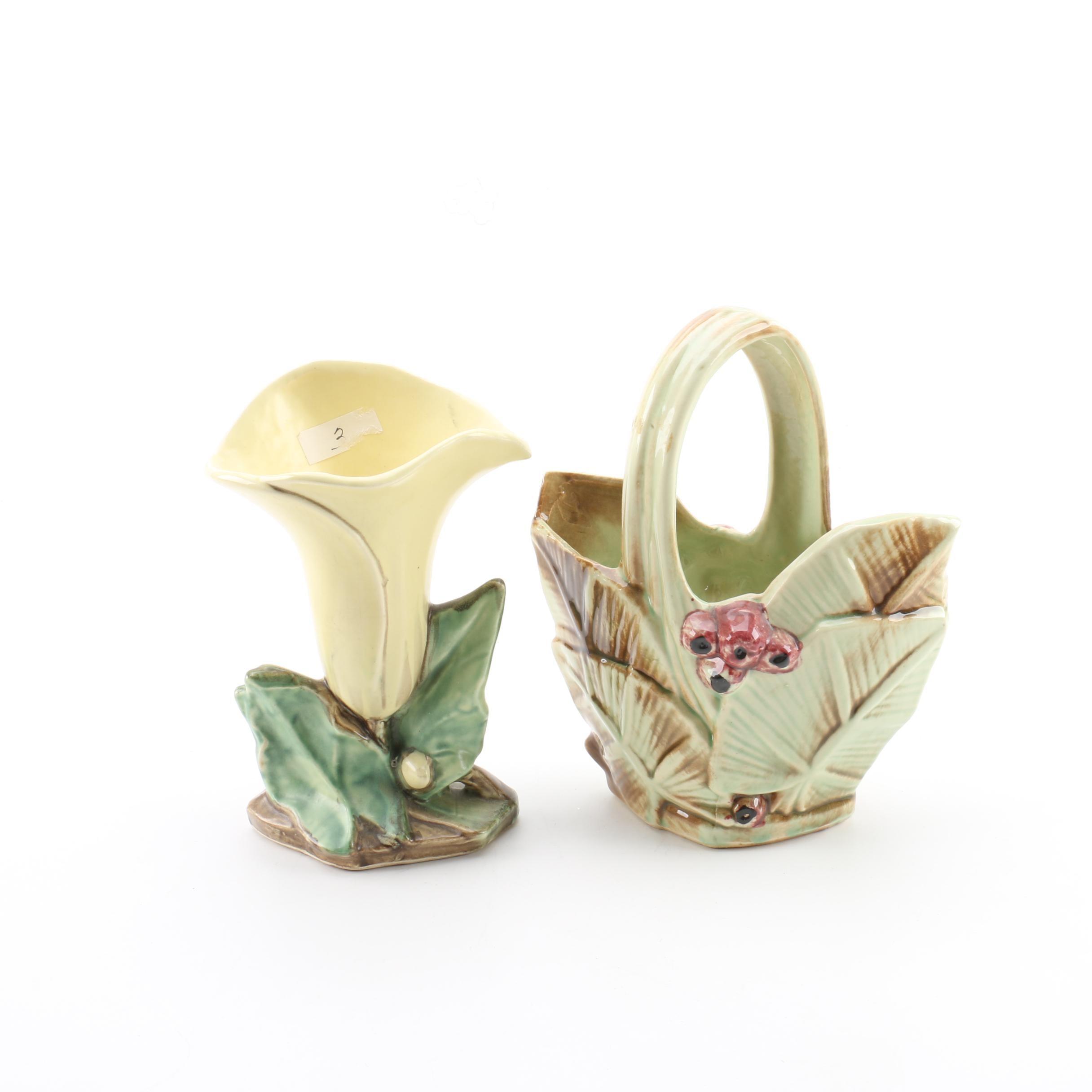 Vintage McCoy Pottery Basket and Flower Vase