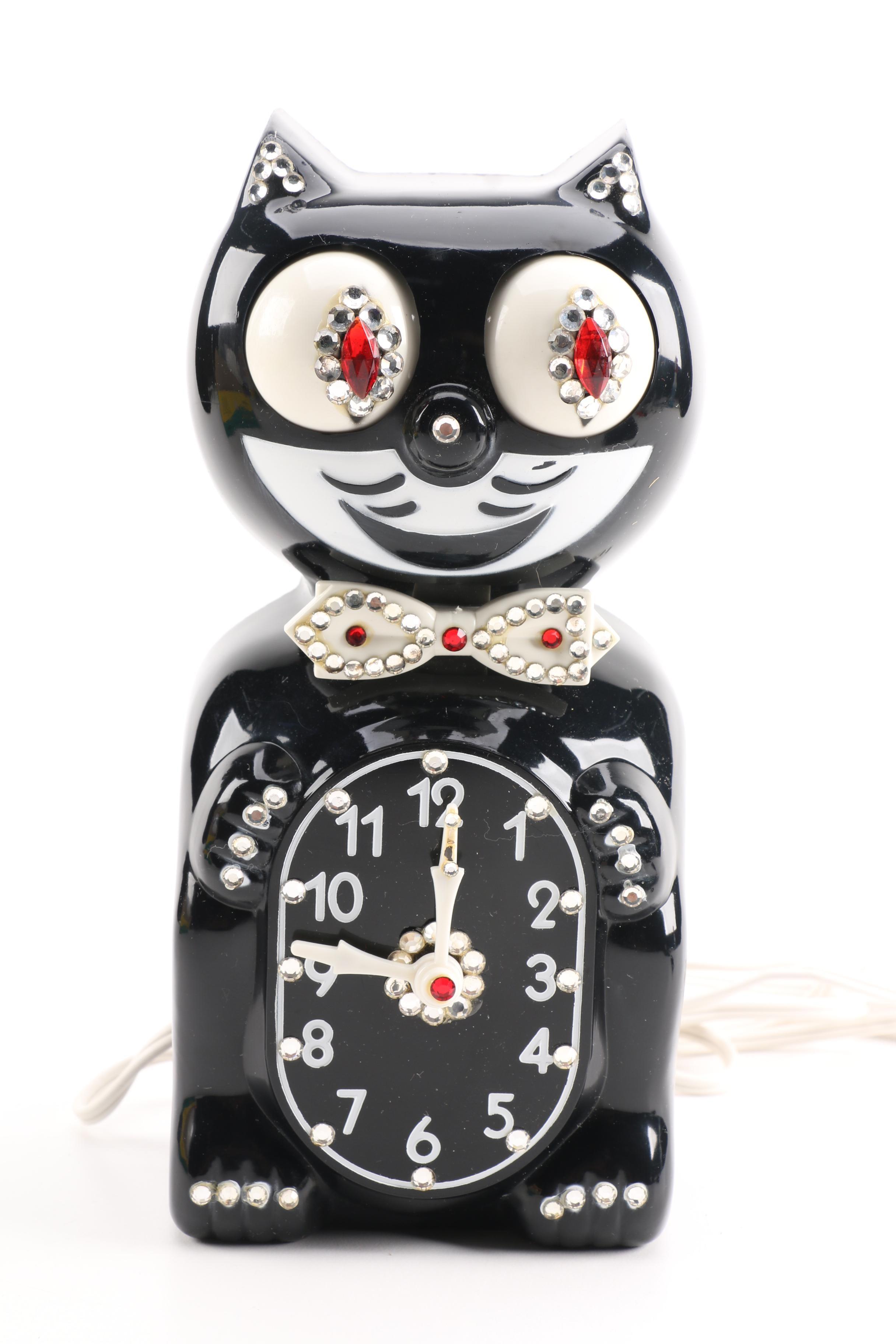 Vintage Animated Jeweled  Kit Cat Wall Clock