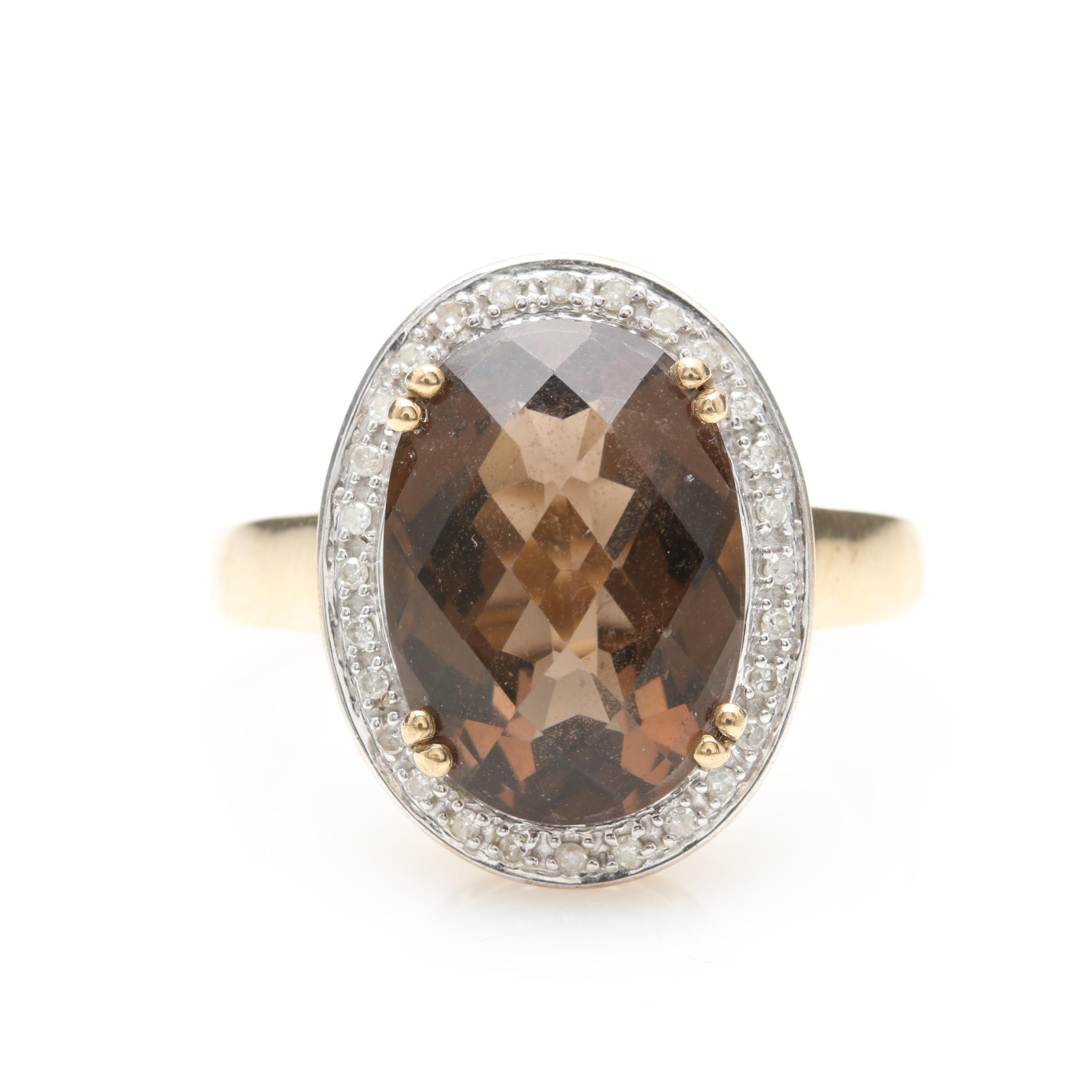 9K Yellow and White Gold Smoky Quartz and Diamond Ring