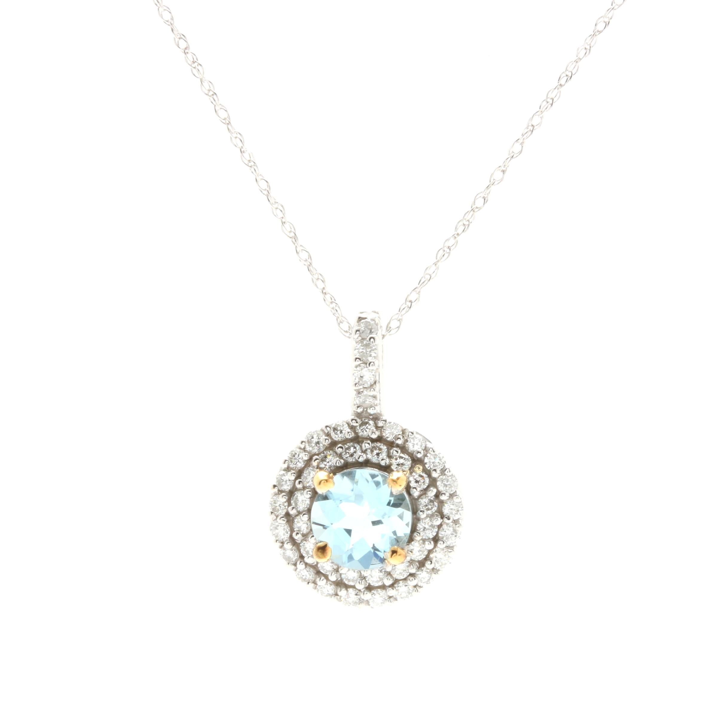 14K White Gold Aquamarine and Diamond Pendant Necklace