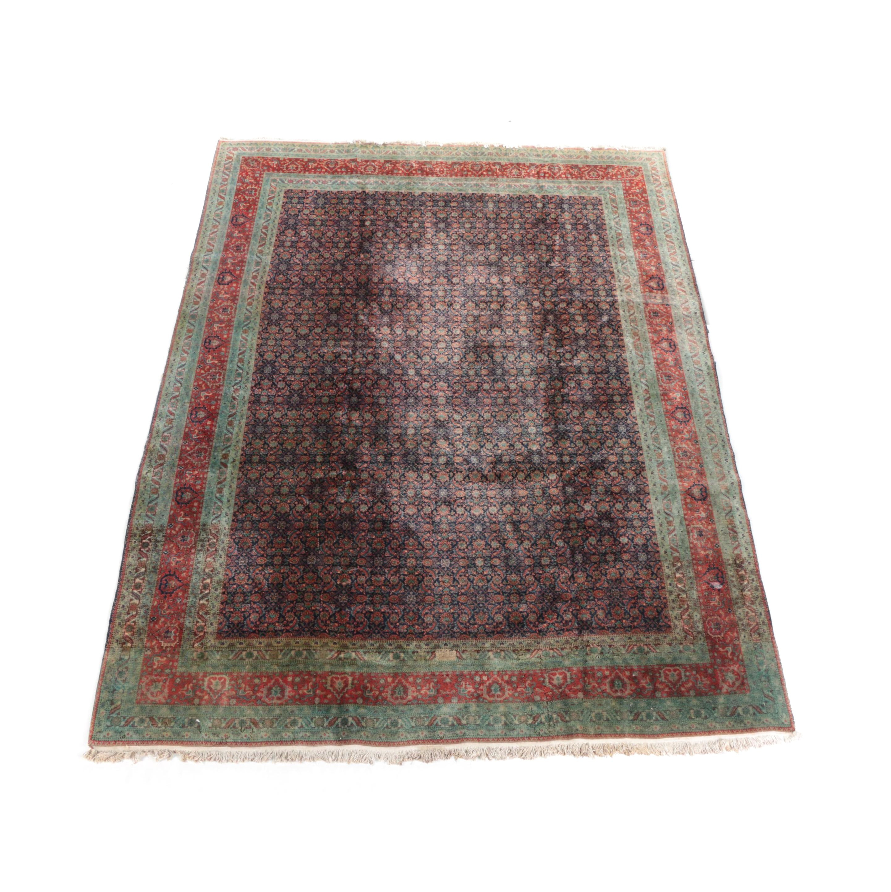 Vintage Hand-Knotted Bijar Style  Painted Wool Area Rug