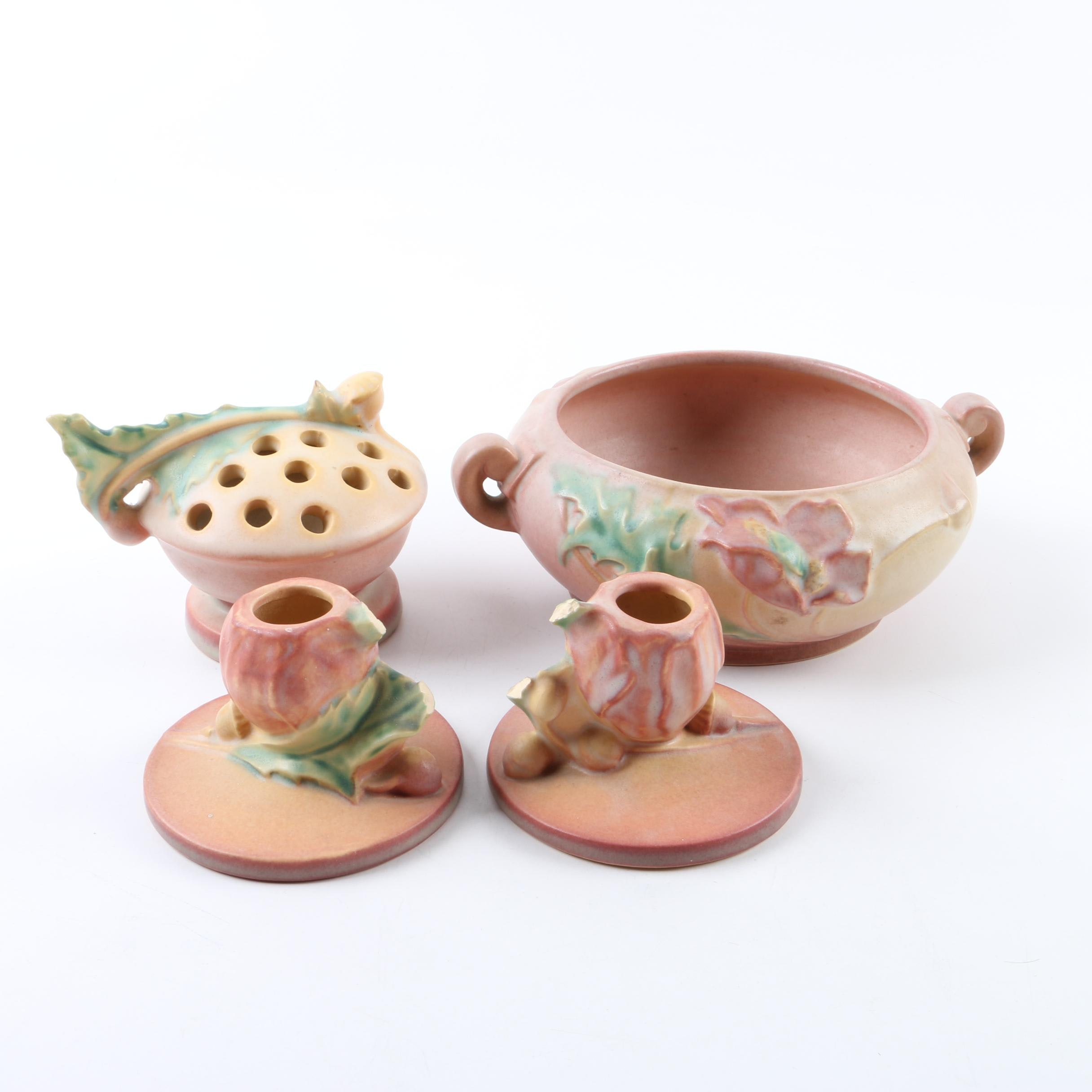 """Roseville Pottery """"Poppy"""" Console Bowl, Floral Frog, and Candlestick Holders"""