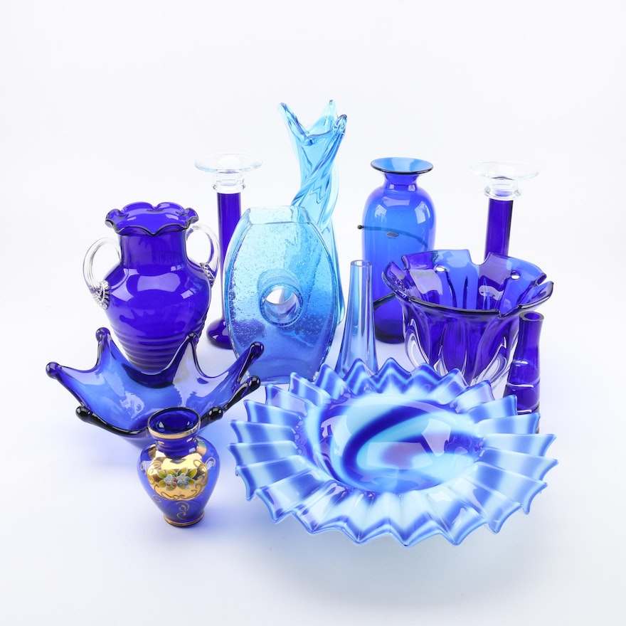 Blue Colored Glass Vases And Bowls Including Blenko And Mikasa Ebth