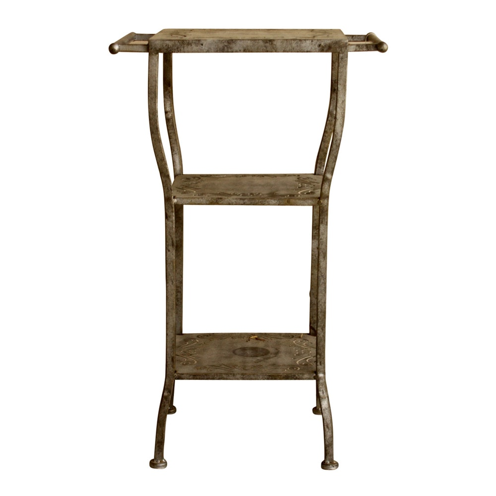 Metal Plant Stand with Scrolling Motif