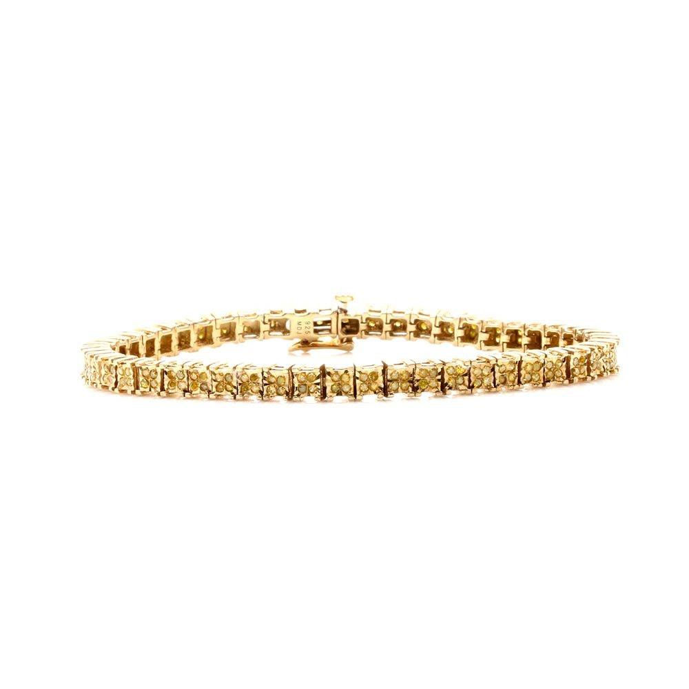 Gold Wash on Sterling Silver 1.26 CTW Yellow Diamond Tennis Bracelet
