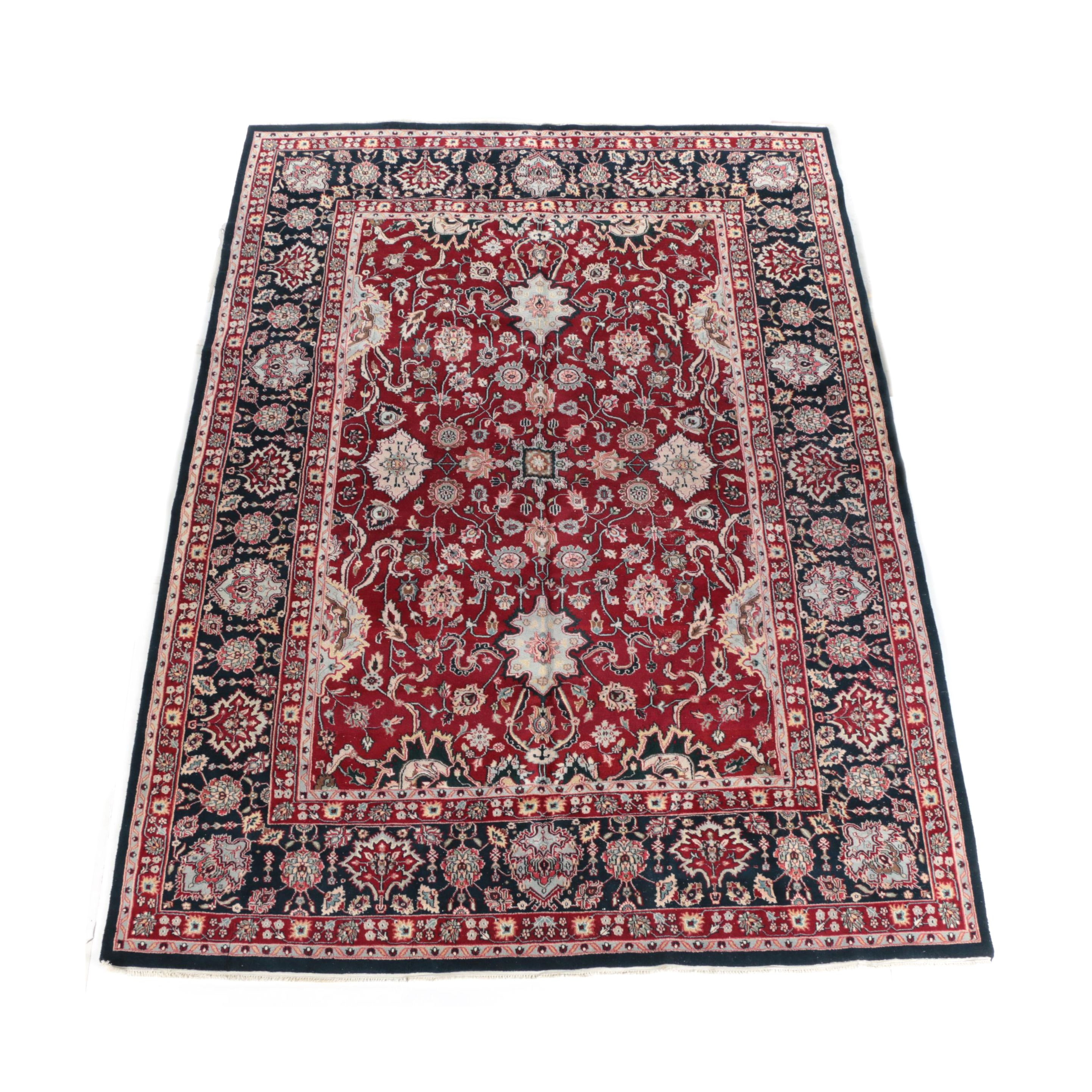 """Hand-Knotted Indian """"Mashad"""" Wool Room Size Rug"""