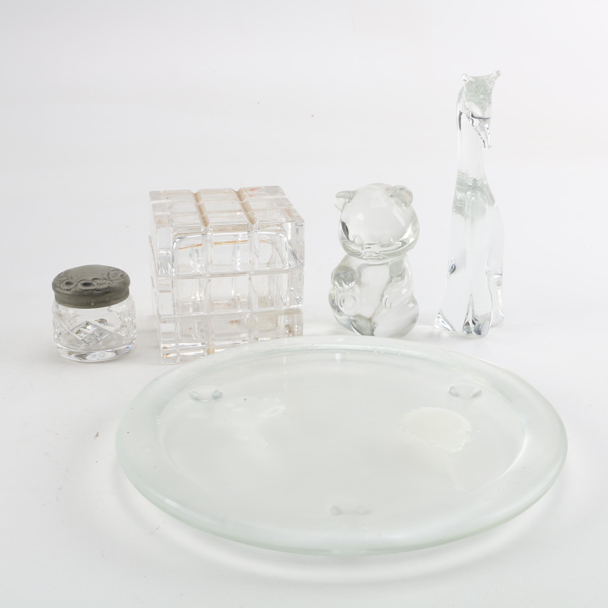 Waterford Crystal Covered Jar with a Glass Box, Figurines and Plate