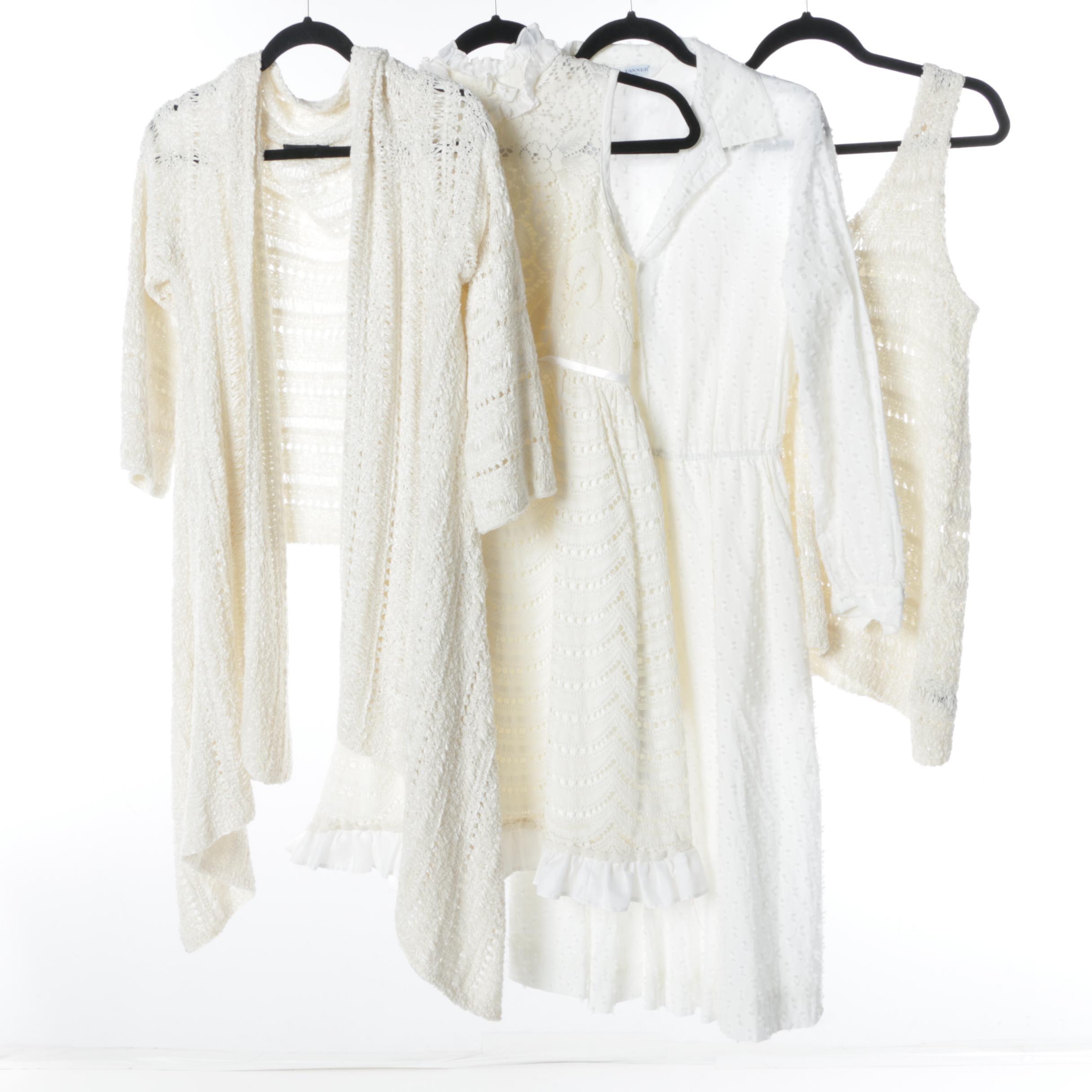 1980s Vintage Donna Karan Pure Silk Ribbonwork Knit Top and Shawl