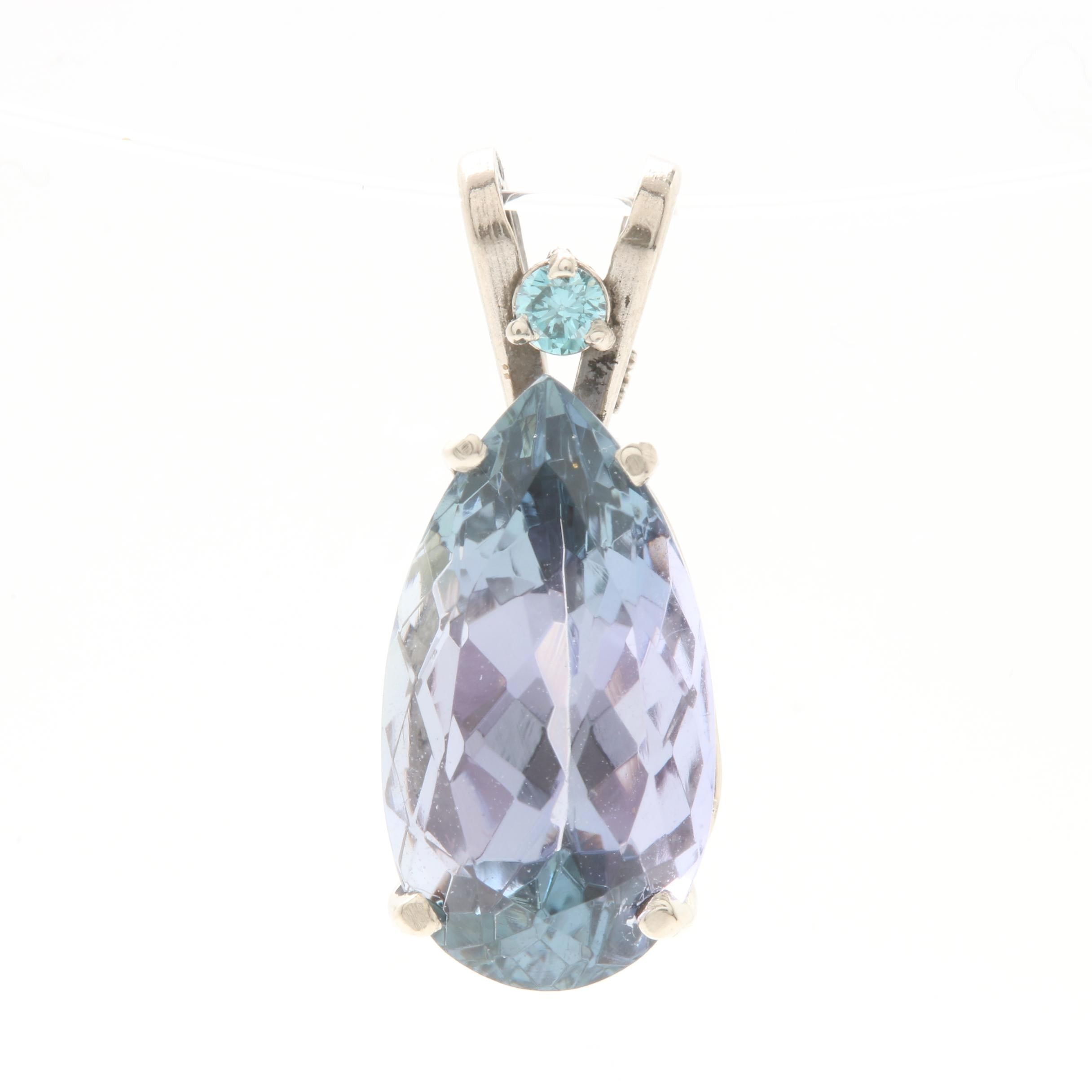 14K White Gold Tanzanite and Blue Diamond Pendant