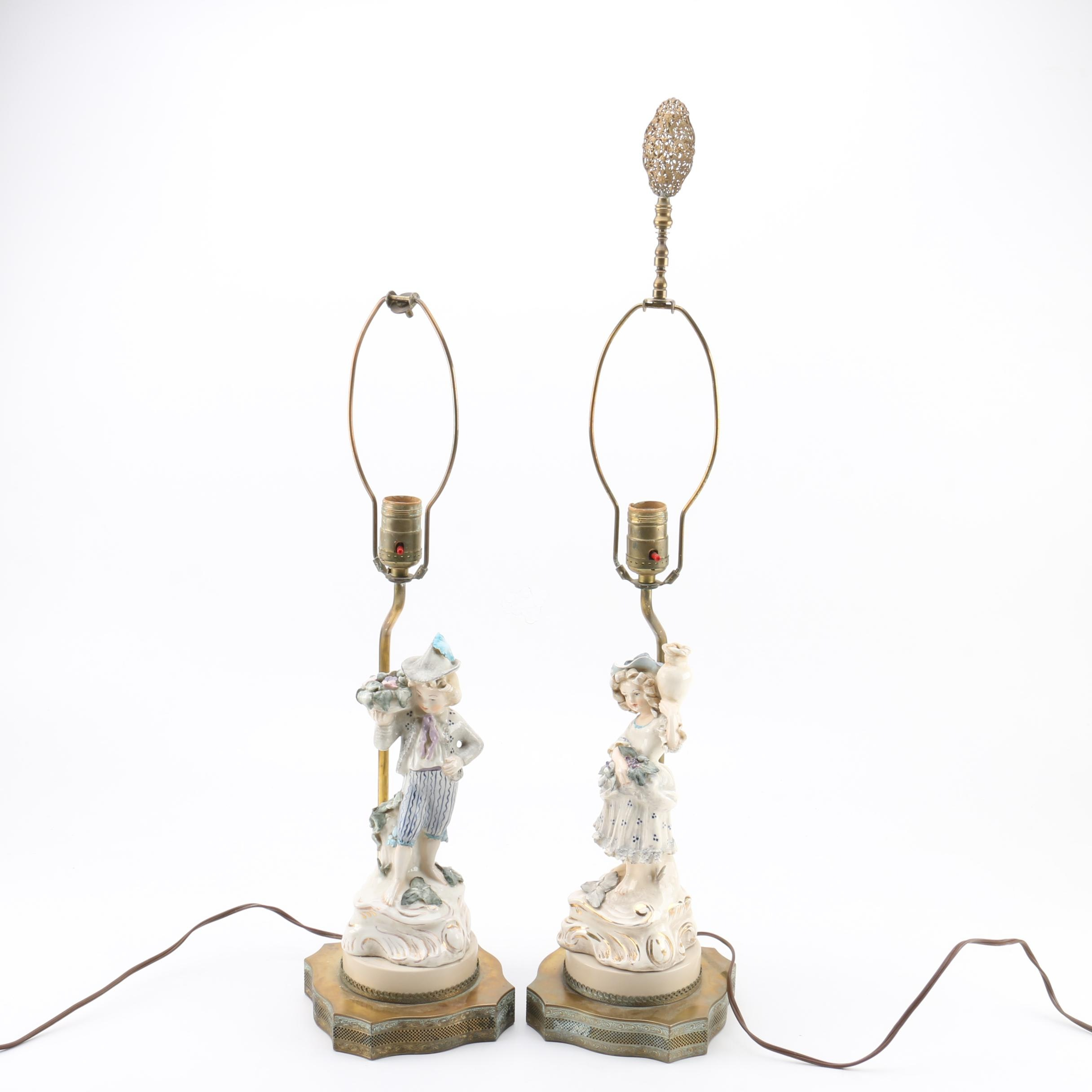 Vintage Figurative Porcelain and Brass Table Lamps