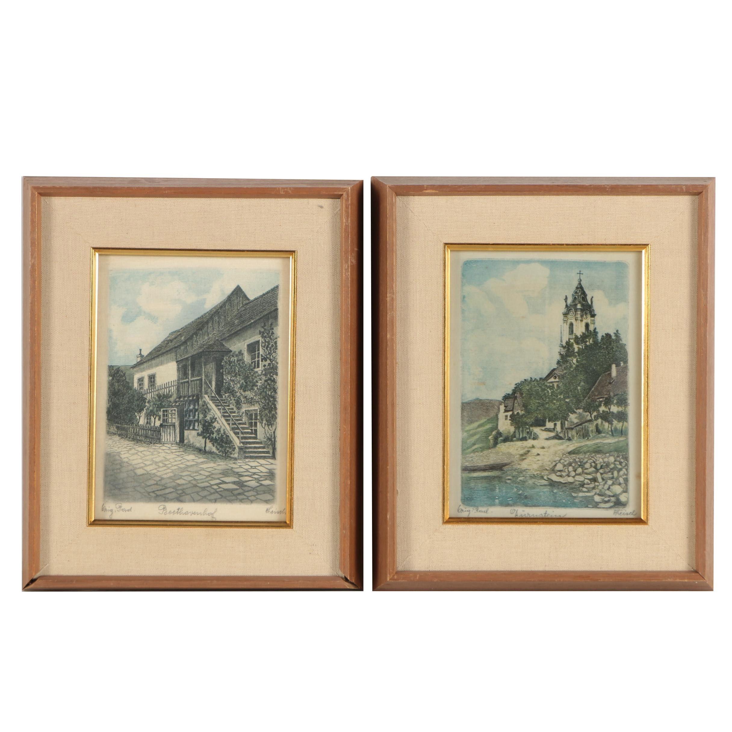 """Hans Leisch Mid-Century Etchings on Silk """"Beethovenhaus"""" and """"Dürnstein"""""""