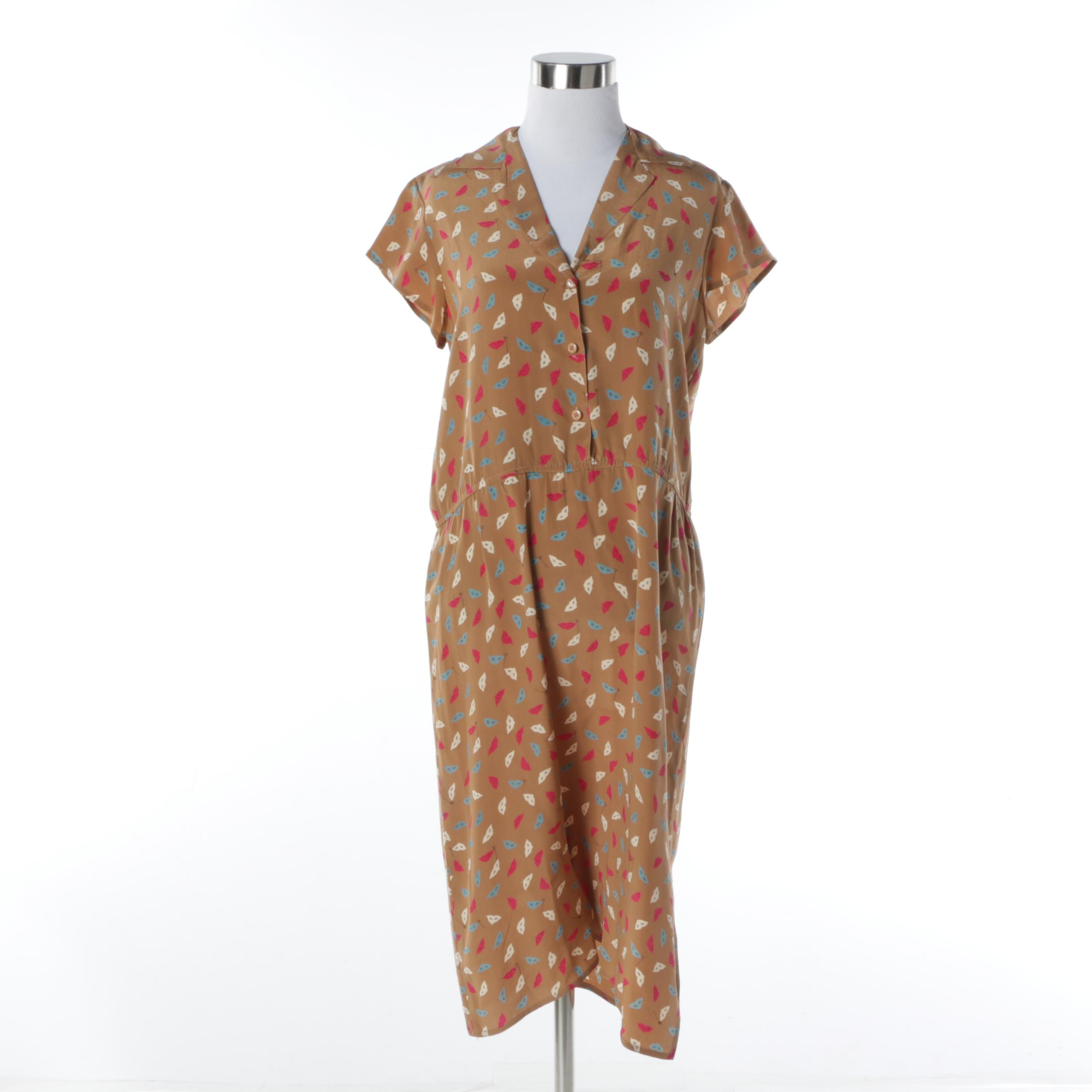 1980s Vintage Diane von Furstenberg Silk Dress with Carnival Mask Print