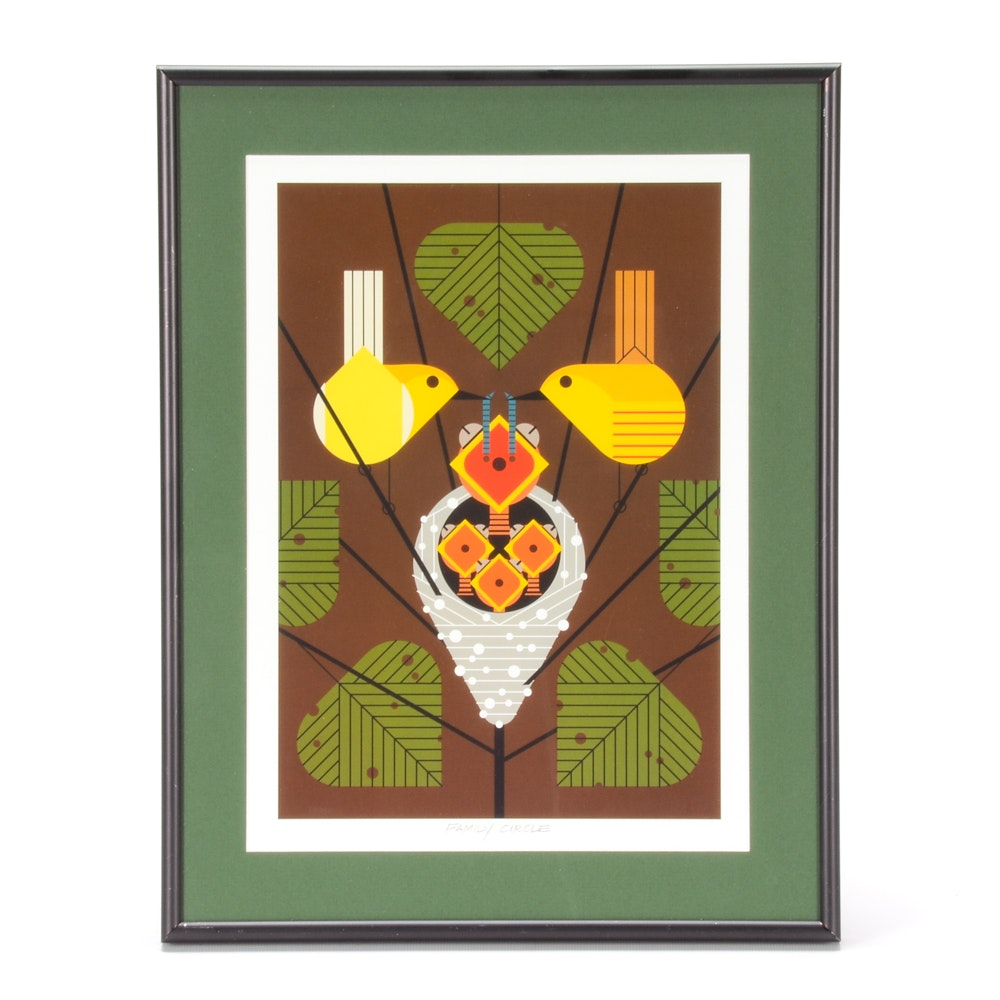"""Charley Harper Offset Lithograph """"Family Circle"""""""