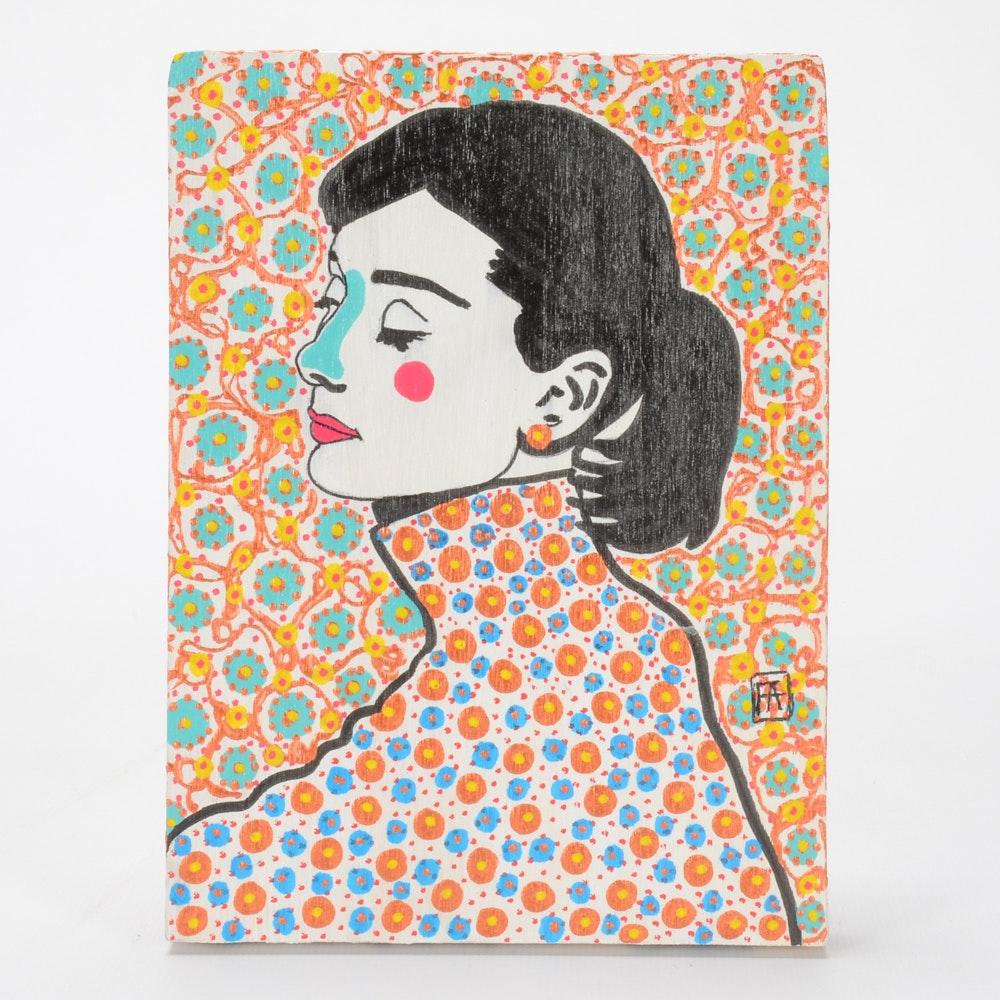 """Francois Aguiard Original Acrylic Painting """"Audrey Hepburn"""""""