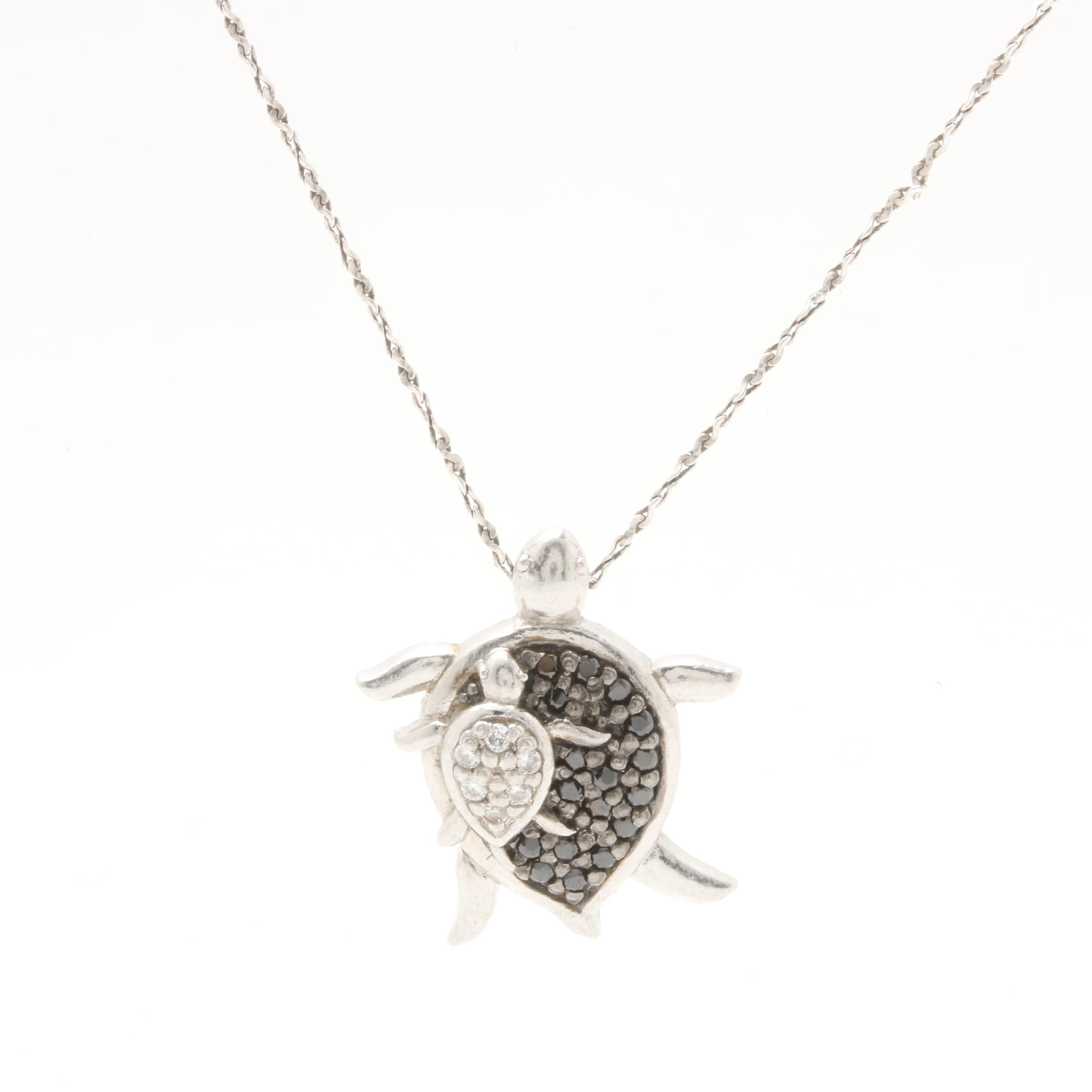 Sterling Silver Cubic Zirconia Turtle Pendant Necklace