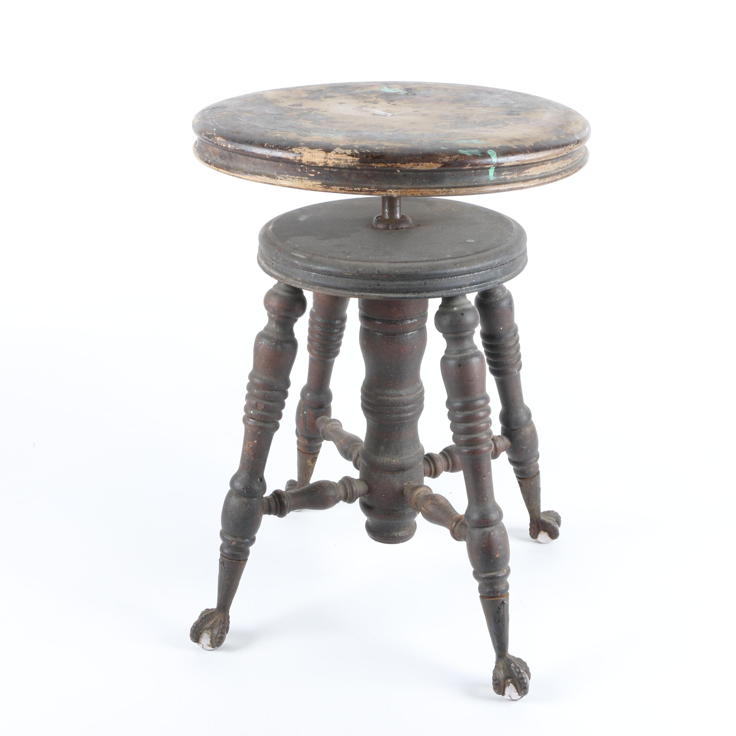 Antique Swivel Piano Stool with Glass Ball and Claw Feet
