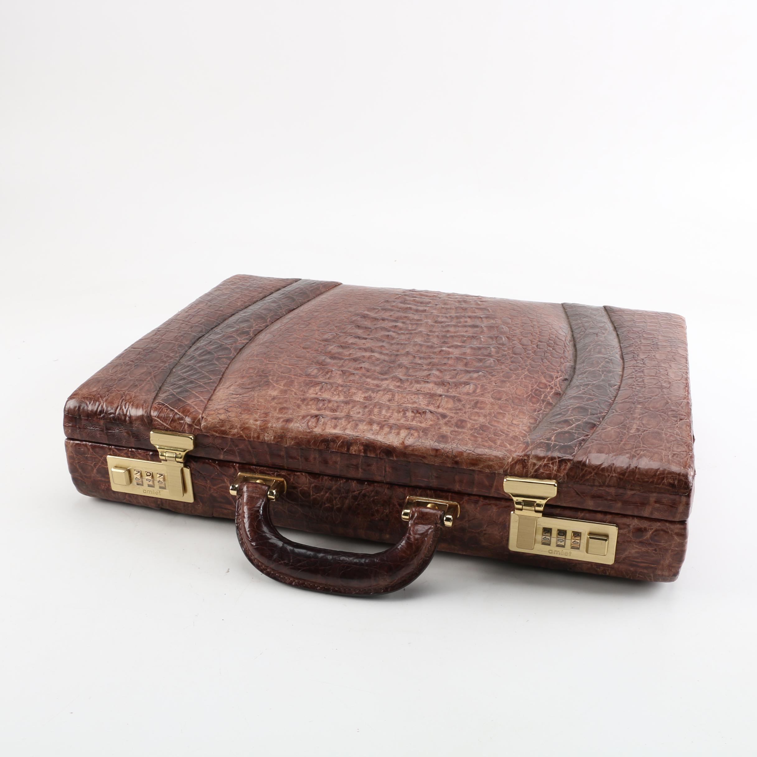 Vintage Dimuri Caiman Briefcase with Alligator Wallet