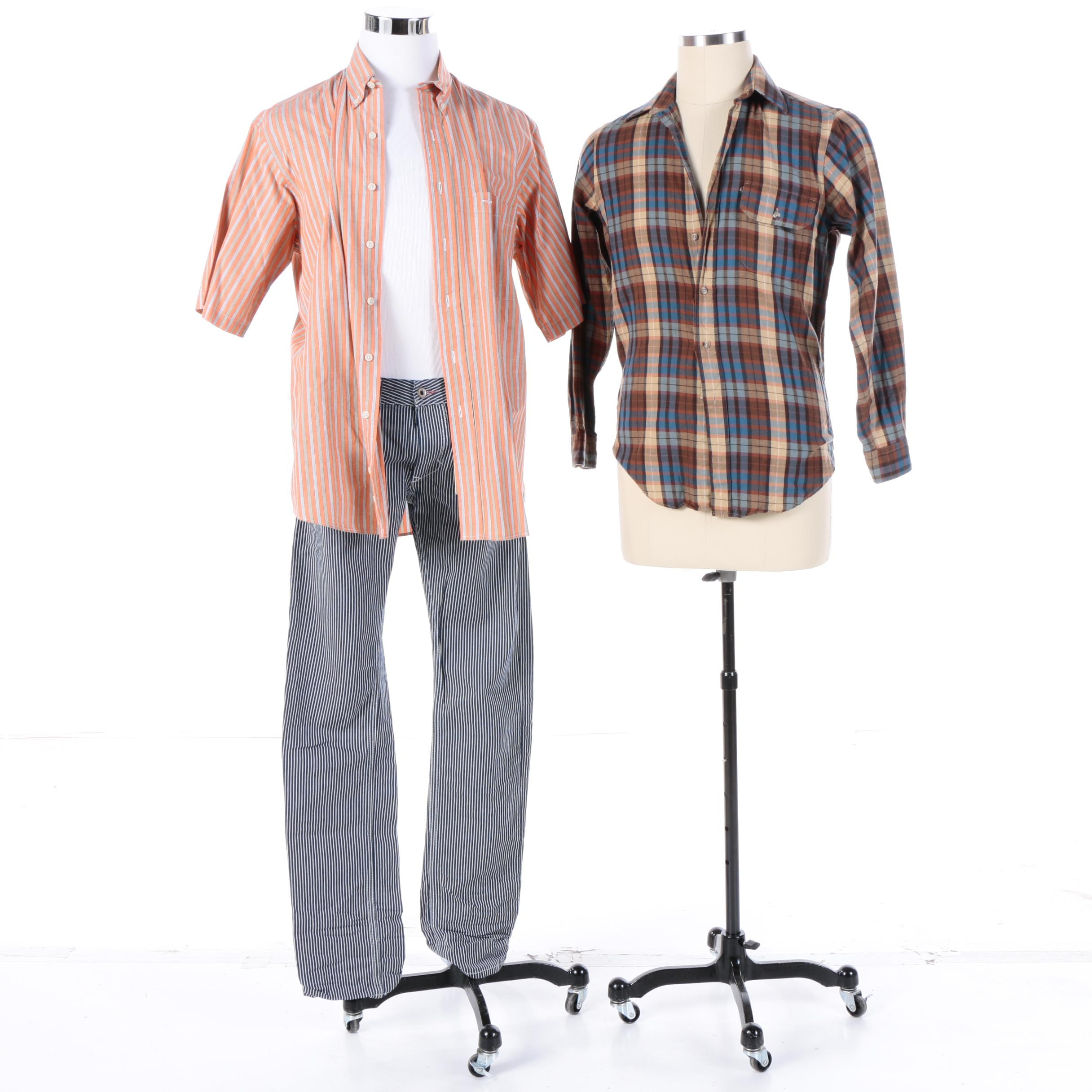 Men's Button-Up Shirts Including Burberry and Diesel Denim Pants
