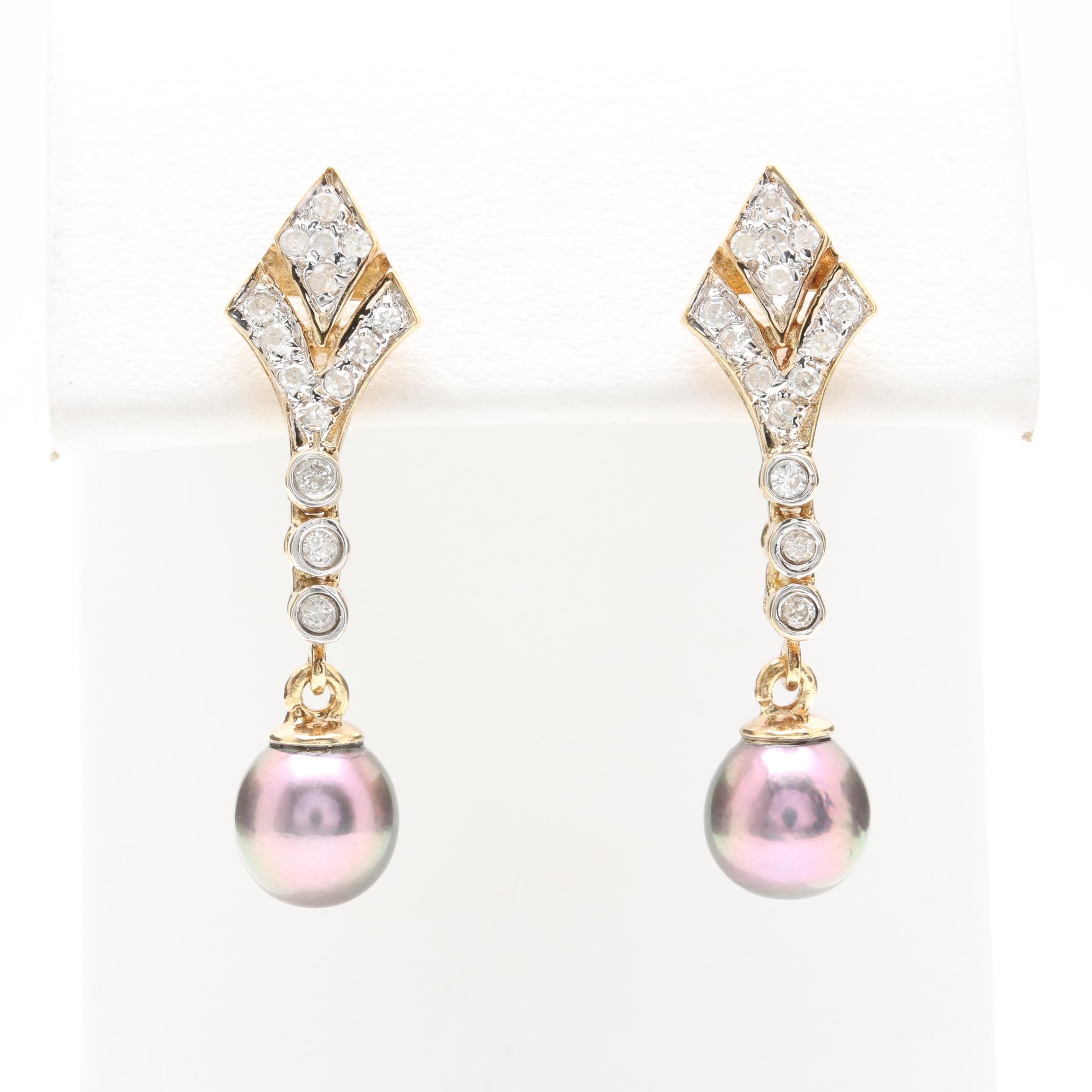 14K Yellow Gold Diamond and Cultured Pearl Dangle Earrings