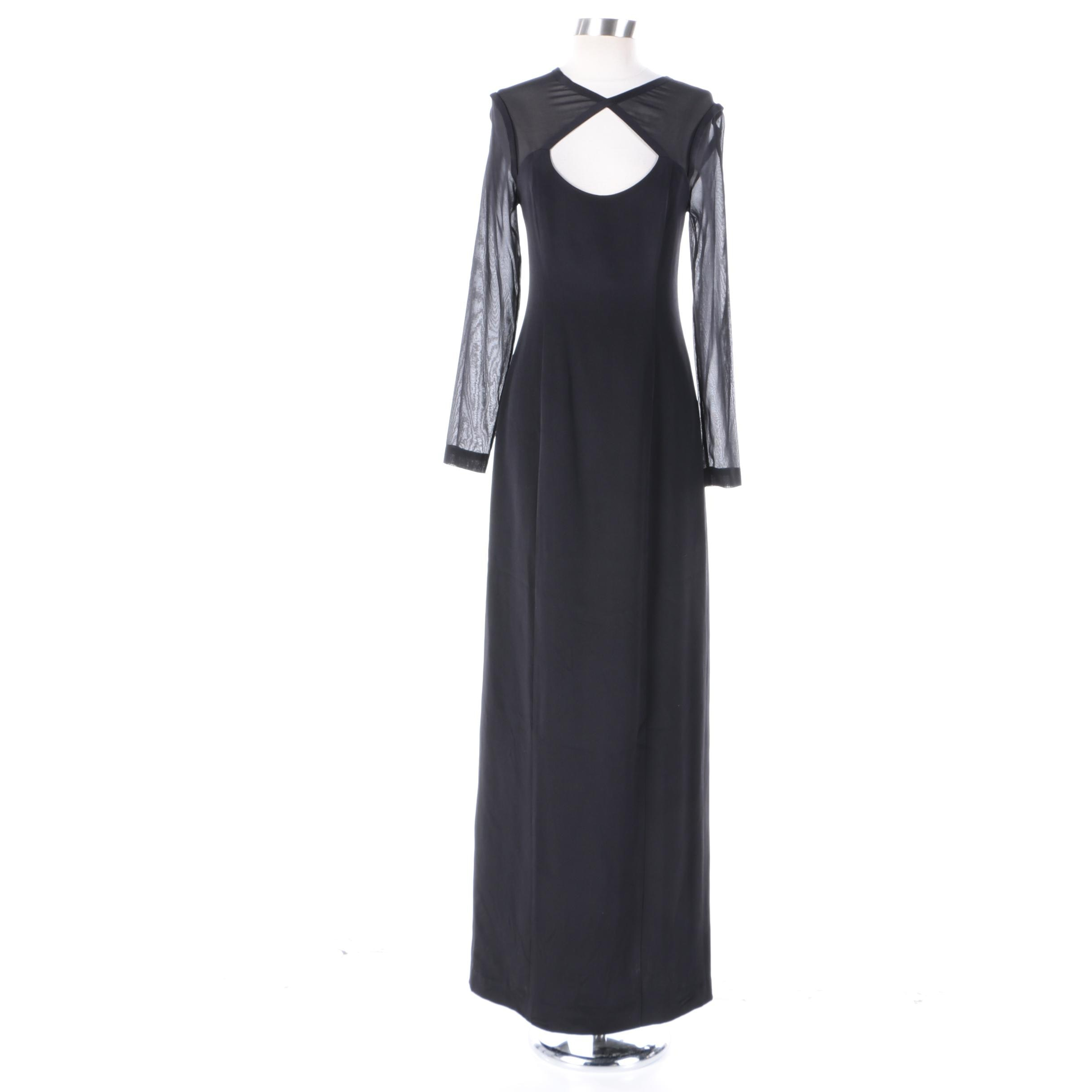 Bill Blass New York Black Silk Keyhole Evening Dress
