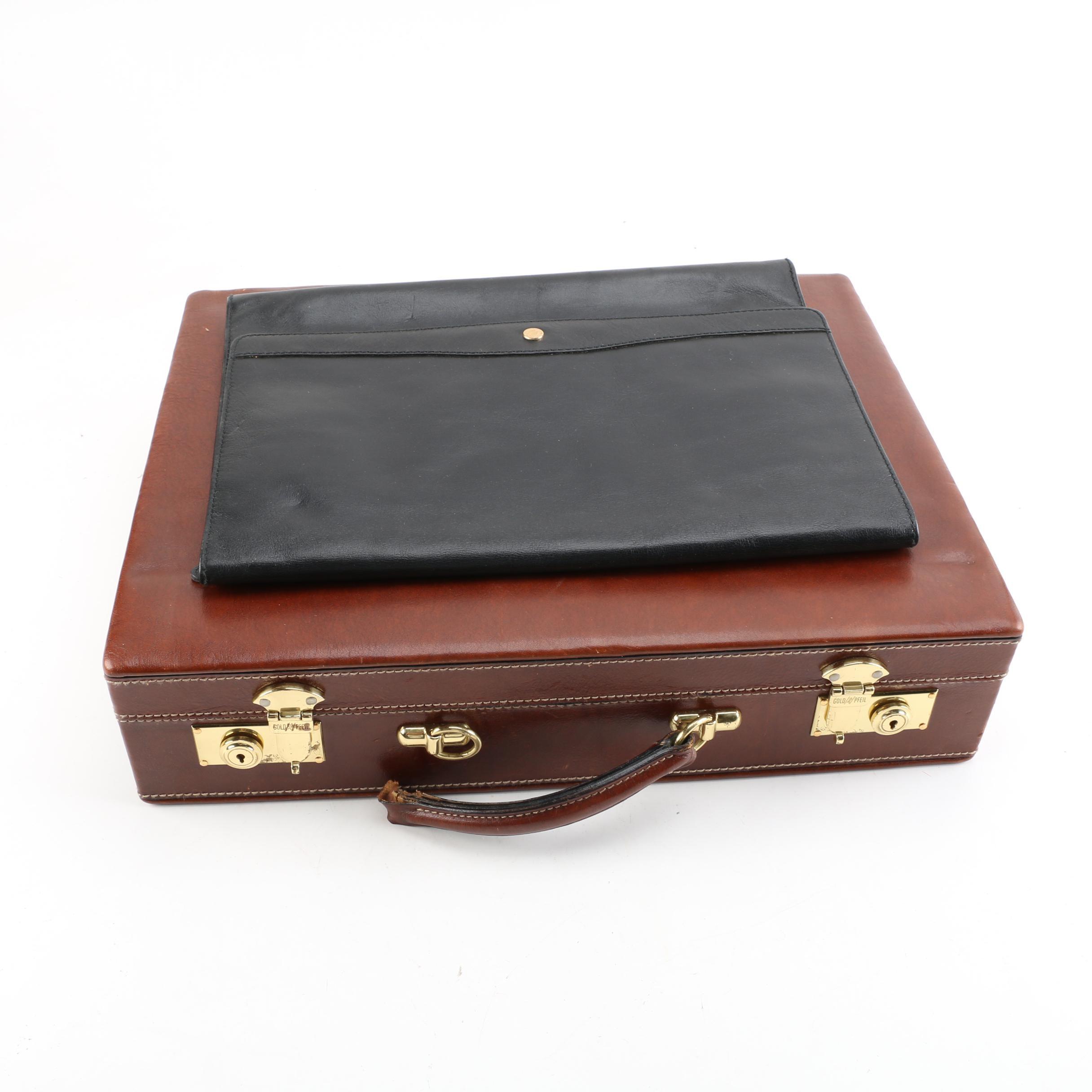 Vintage Goldpfeil Leather Briefcase and Messenger Case