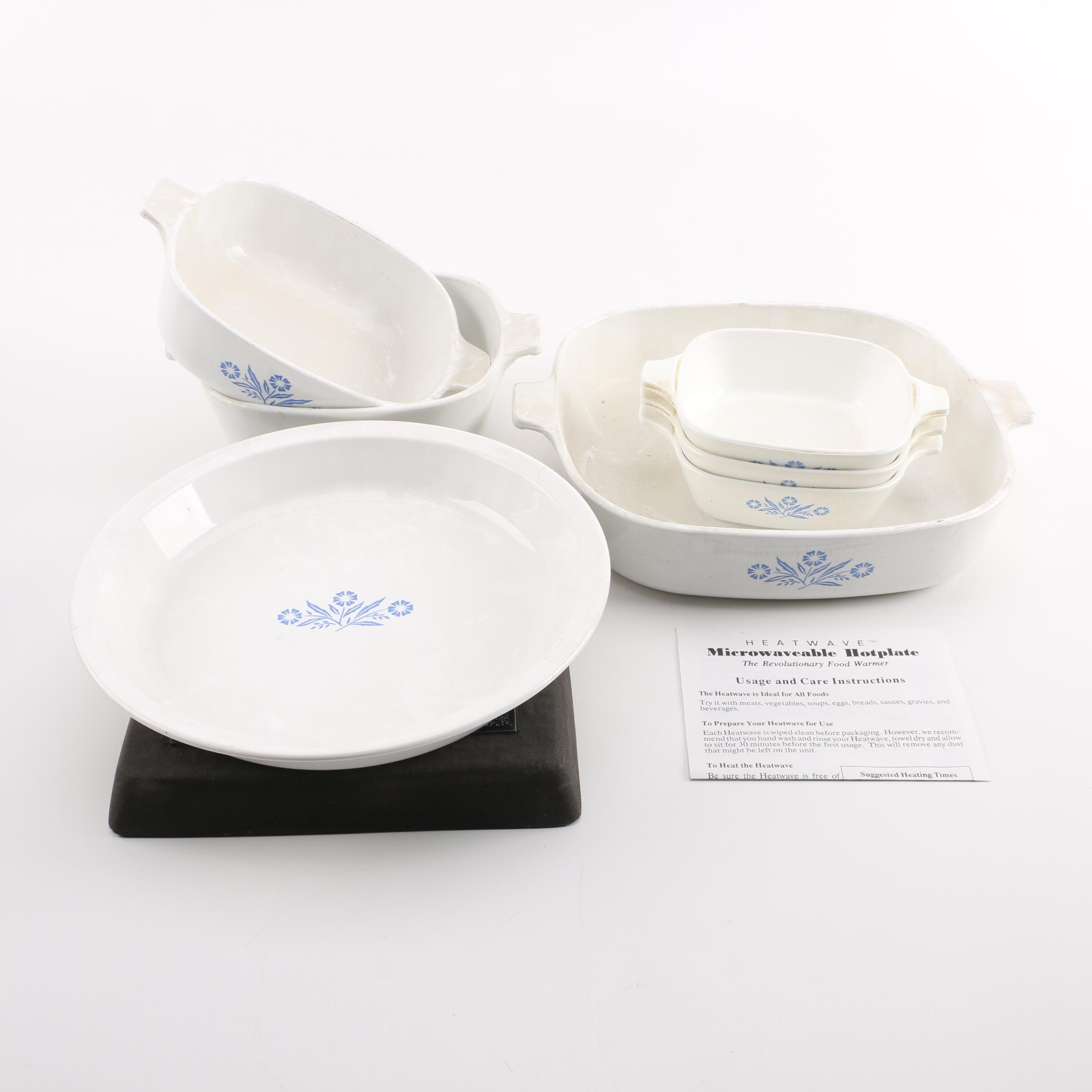 "Corning Ware ""Blue Cornflower"" and Microwaveable Stone Hot Plate"