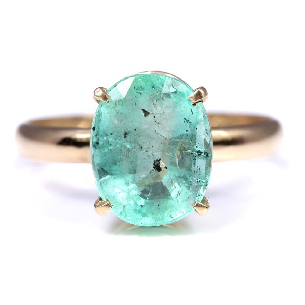 14K Yellow Gold 3.37 CT Emerald Solitaire Ring